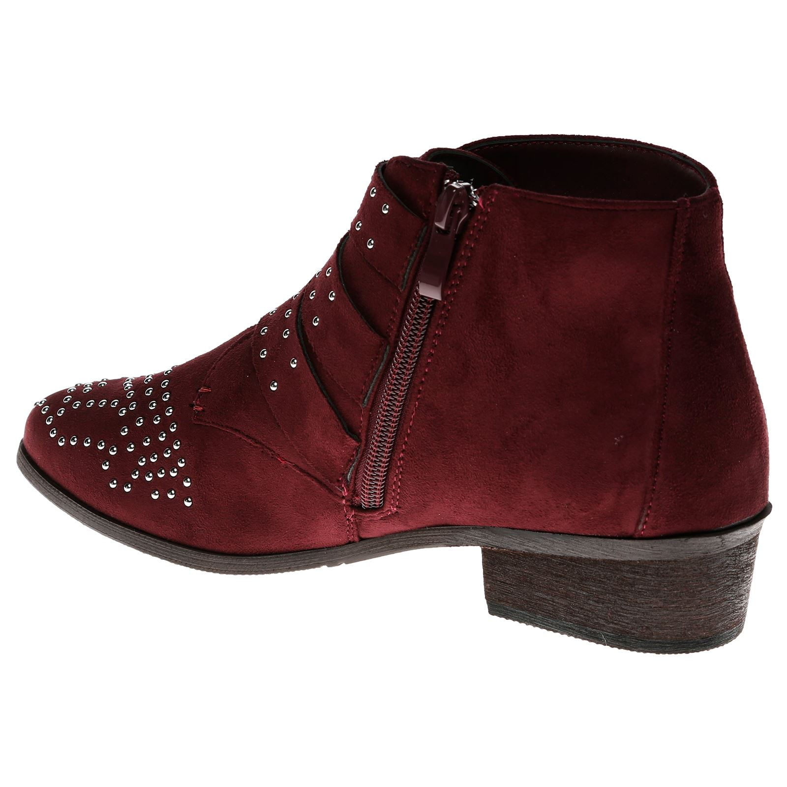 Liv-Womens-Flats-Low-Heels-Buckle-Strappy-Biker-Ankle-Boots-Ladies-Shoes-Studded thumbnail 33