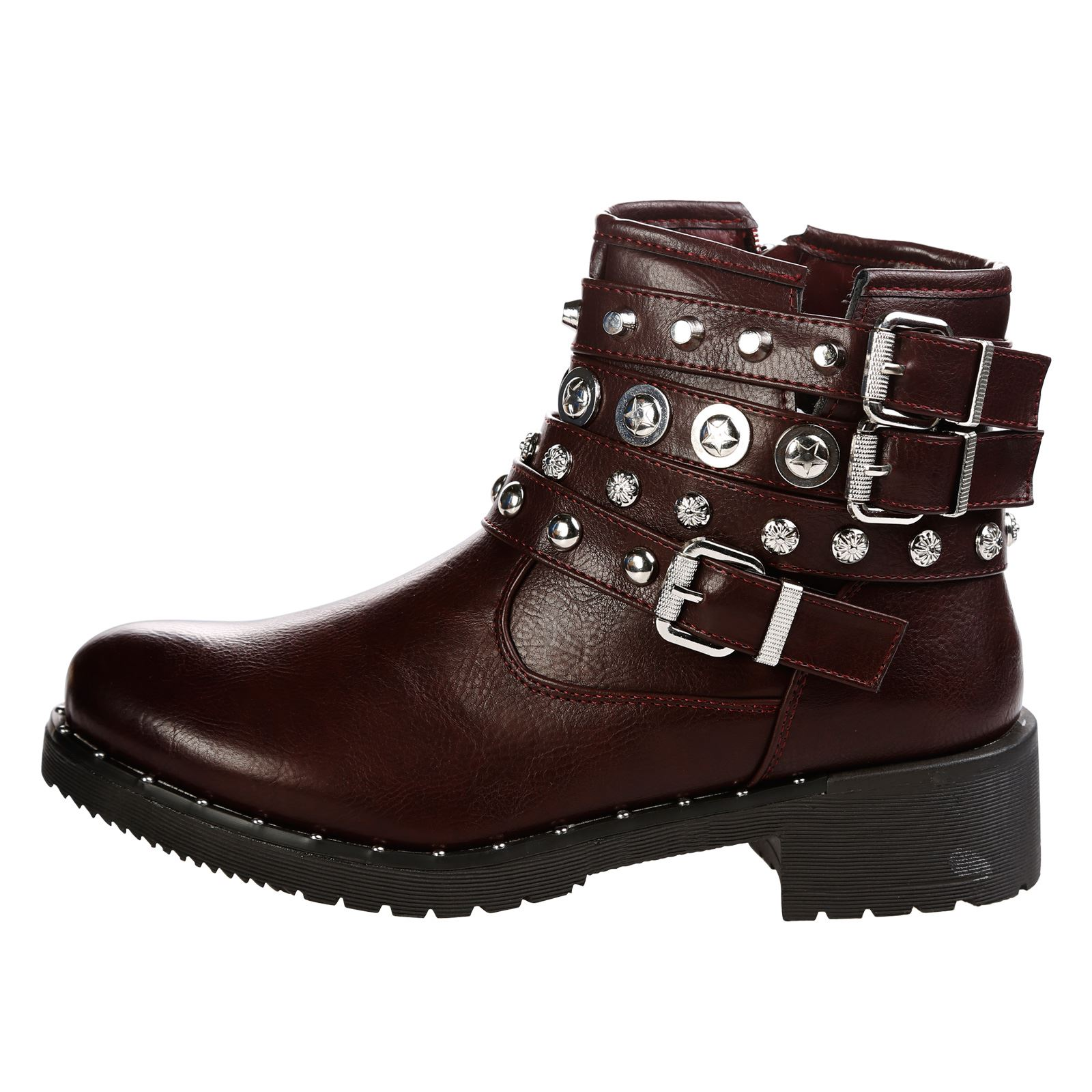 WOMENS ANKLE BOOTS LADIES SHOES BIKER COMBAT ARMY GOTH ...