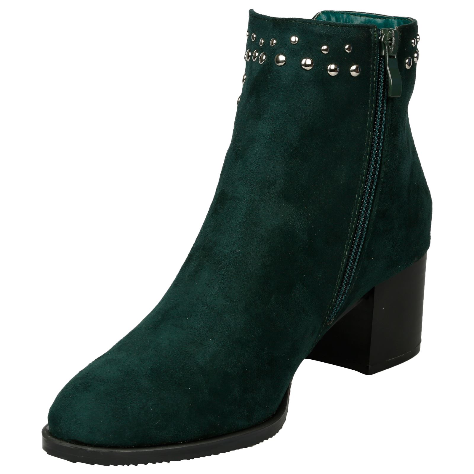 Luna-Womens-Low-Mid-Block-Heel-Studded-Chelsea-Zip-Up-Ankle-Boots-Casual-Ladies thumbnail 12