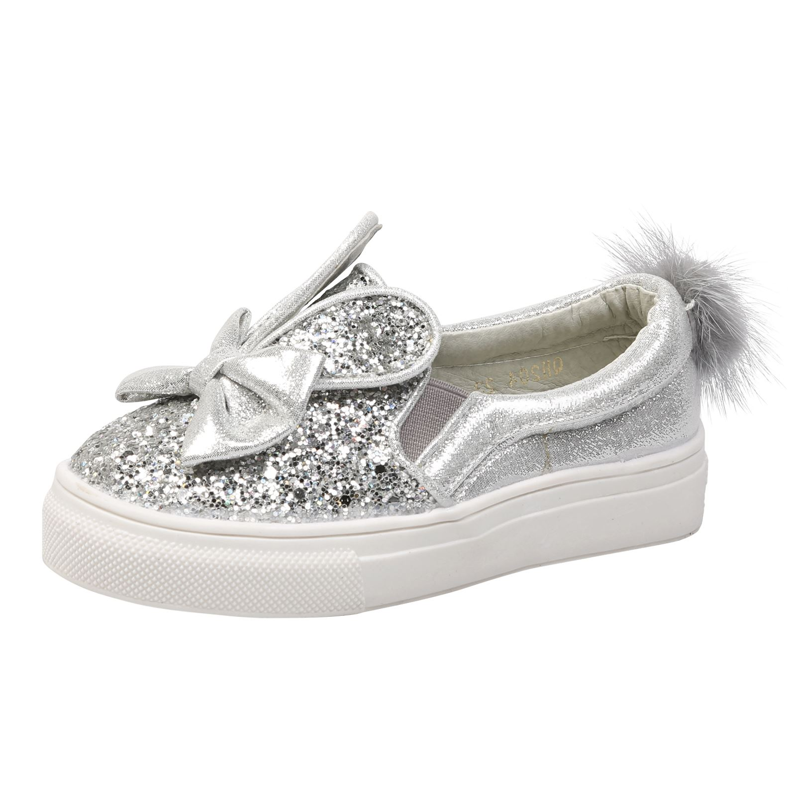 Kids Girls Glitter Pom Bunny PUMPS Childrens Plimsolls SNEAKERS