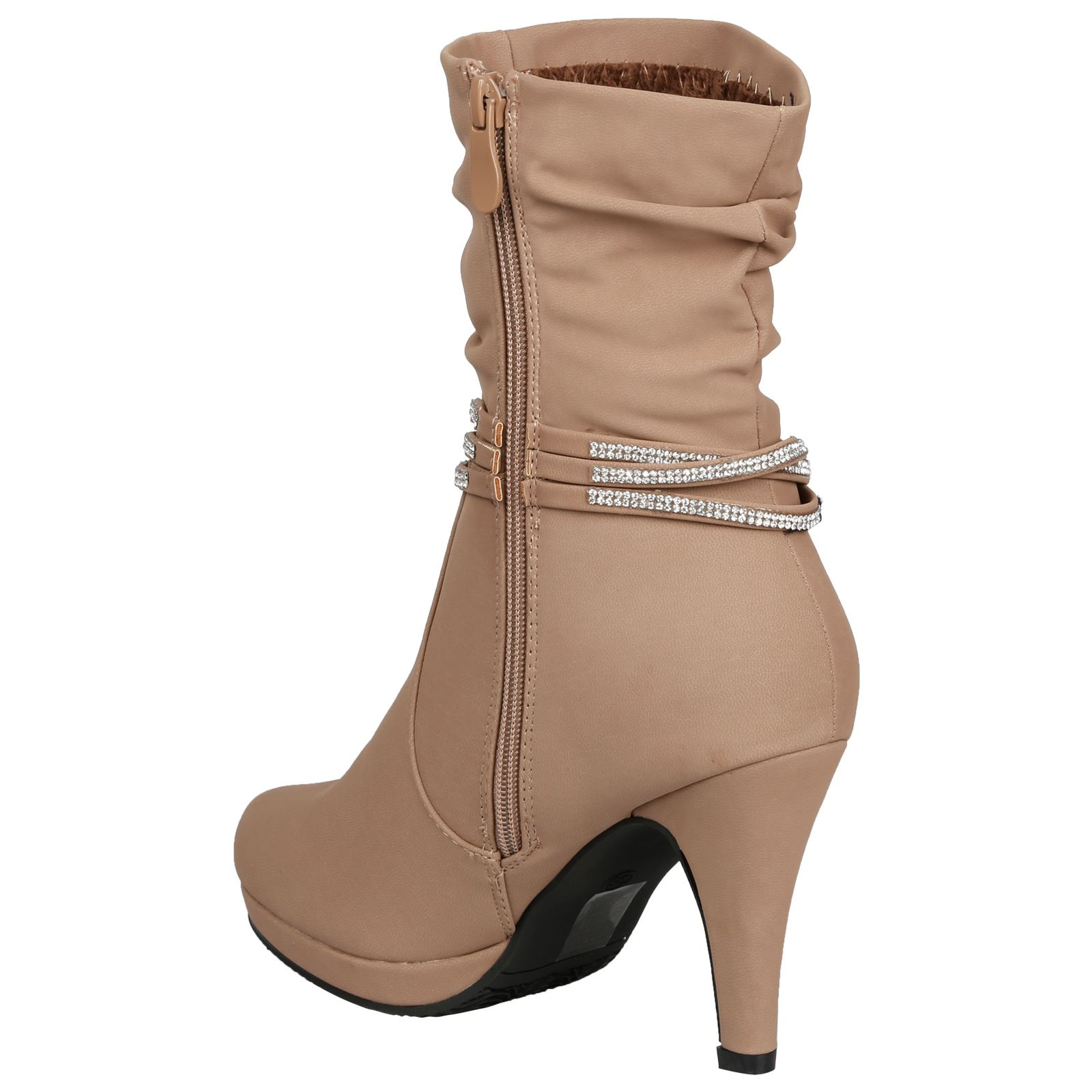 Estrella-Womens-Slim-High-Heel-Diamante-Strap-Slouch-Ankle-Boots-Casual-Style thumbnail 9