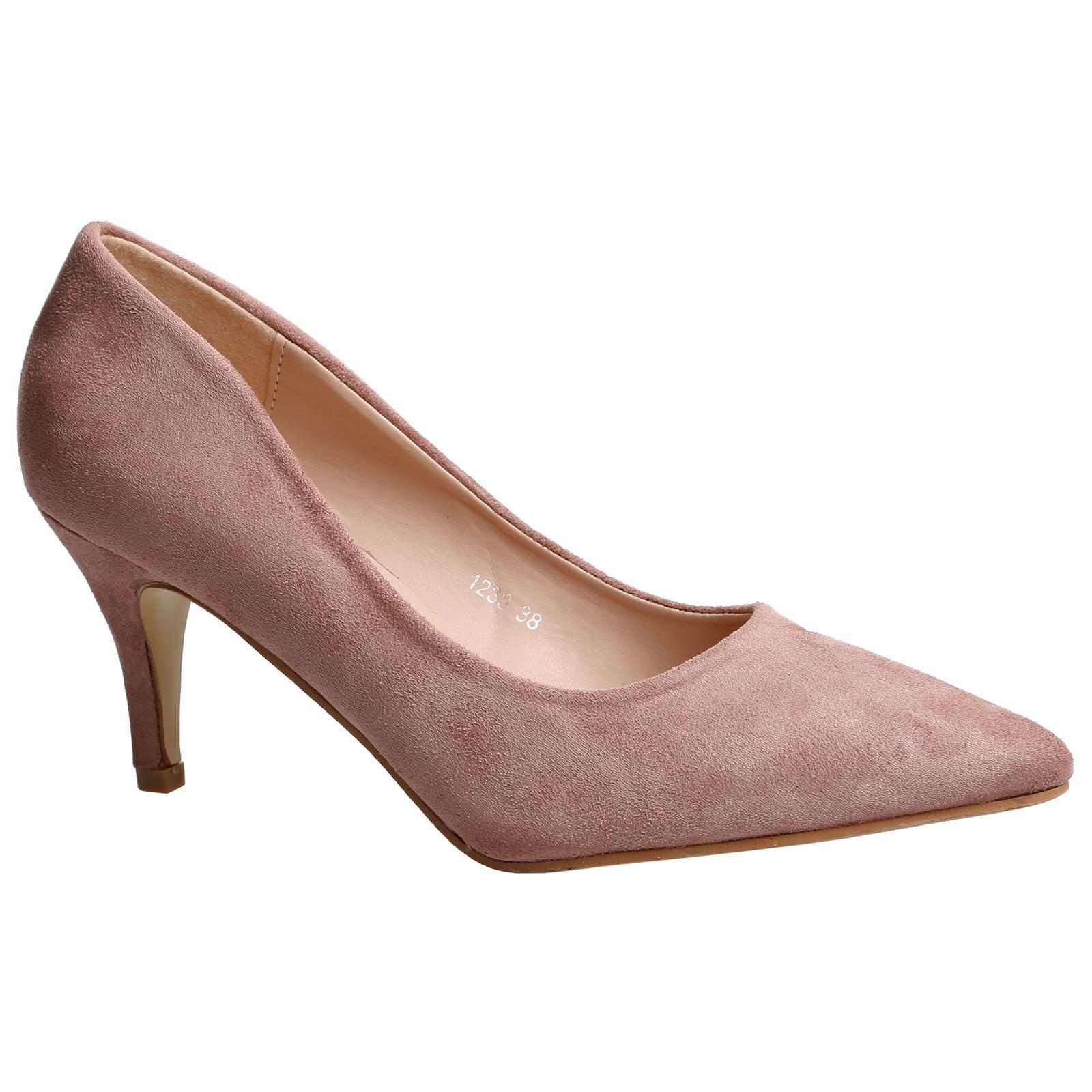 Miranda Womens Low Mid Kitten Heels Slip On Court Shoes