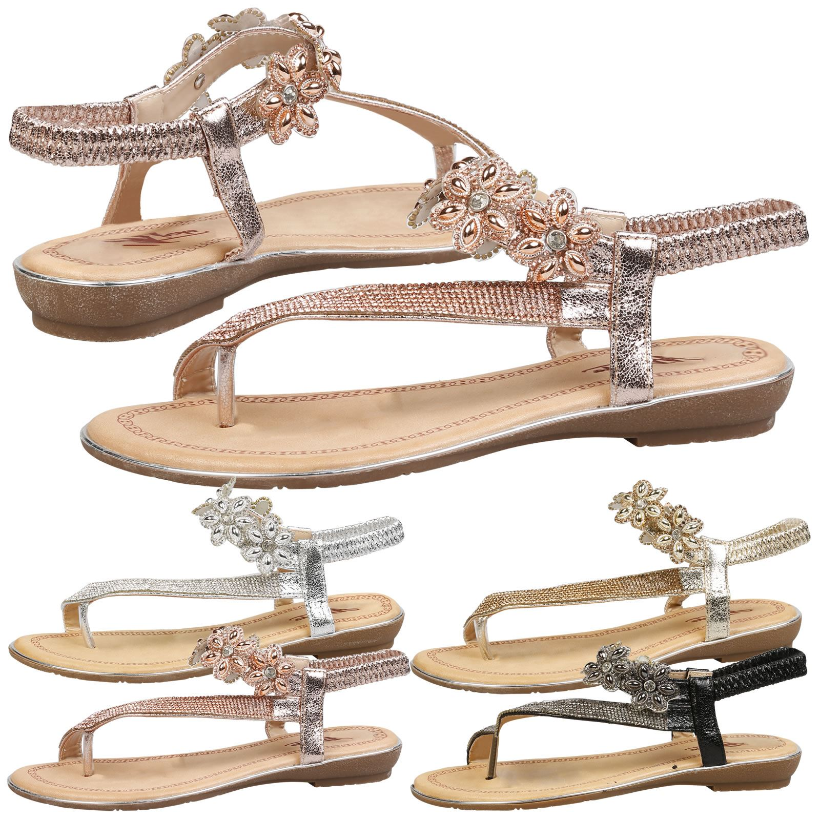31193b49e3f8b0 Details about WOMENS SHOES LADIES ELASTICATED FLIP FLOP SANDALS DRESSY  EVENING OCCASION SUMMER