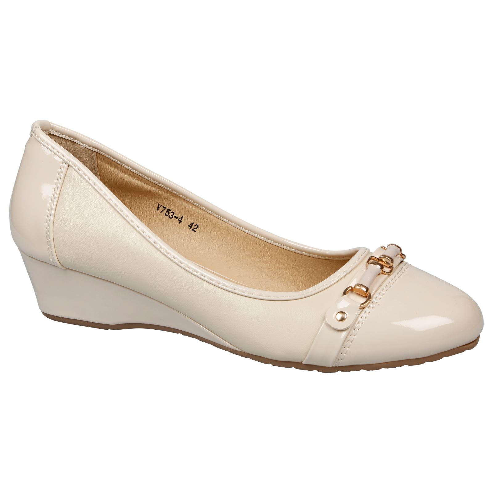 Abrielle Womens Low Wedges Heels Court Shoes Ladies Pumps Large Size UK 7 - 10