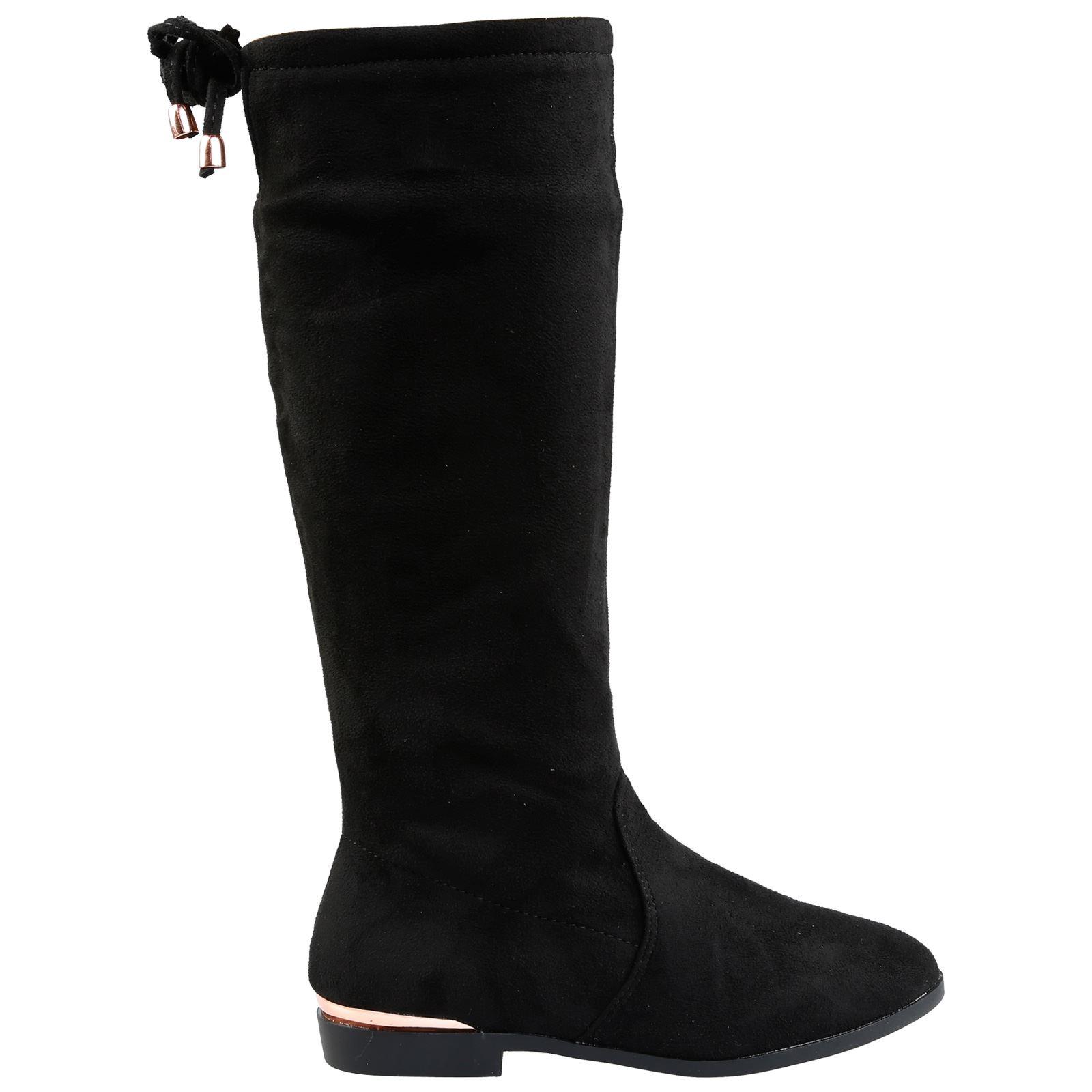 dfc10e81dc8 Hollie Girls Kids Flats Low Heels Mid Calf Knee High Boots Childrens ...