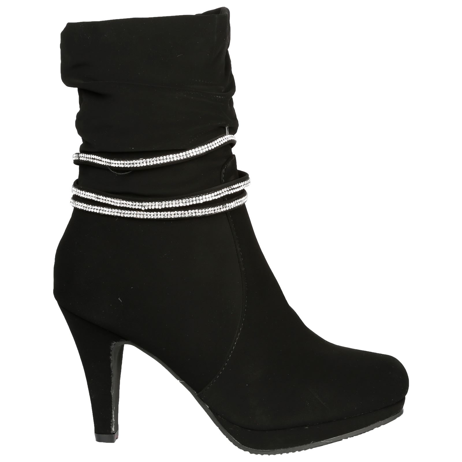 Estrella-Womens-Slim-High-Heel-Diamante-Strap-Slouch-Ankle-Boots-Casual-Style thumbnail 3