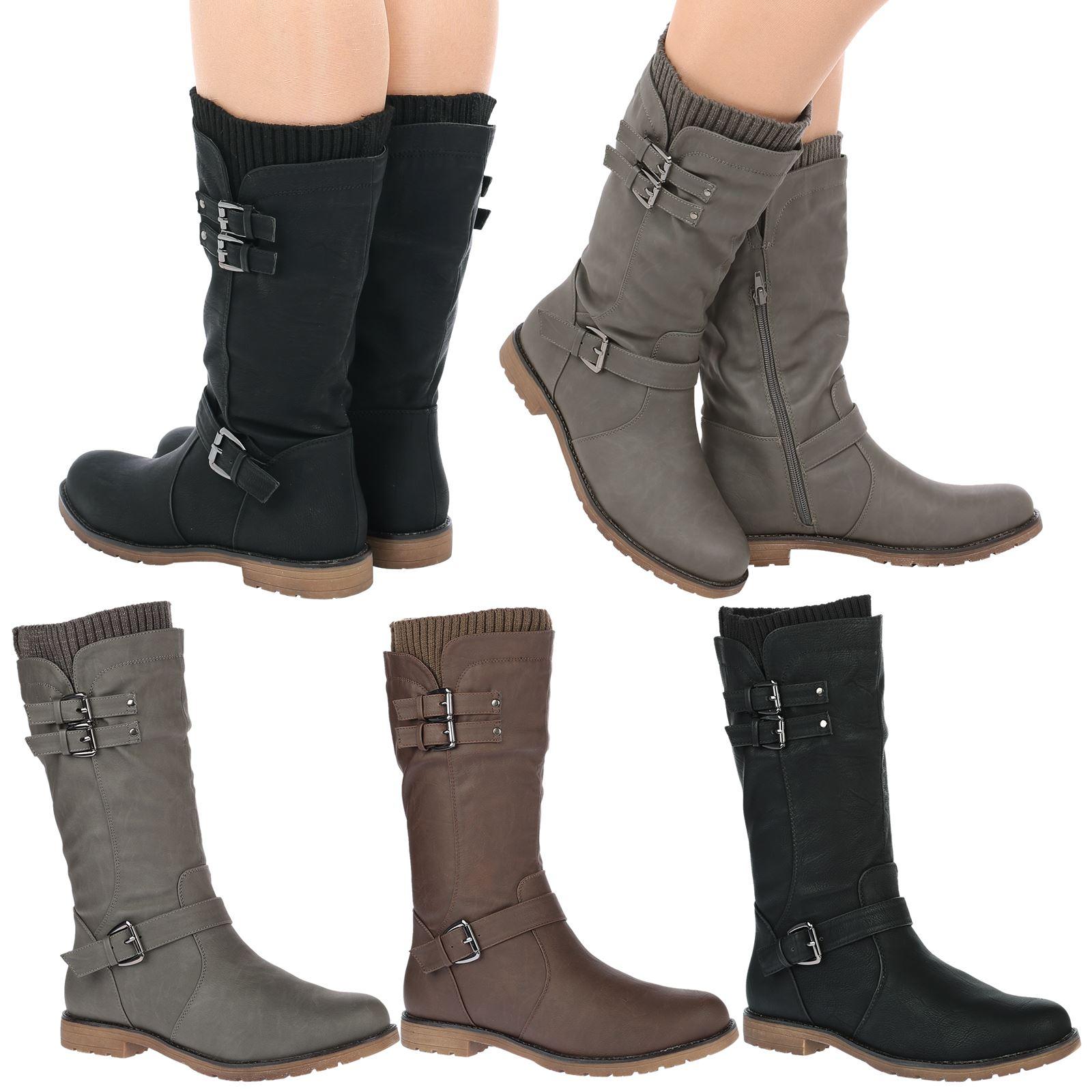 Natalia Womens Low Heel Buckle Zip Up Biker Sock Boots
