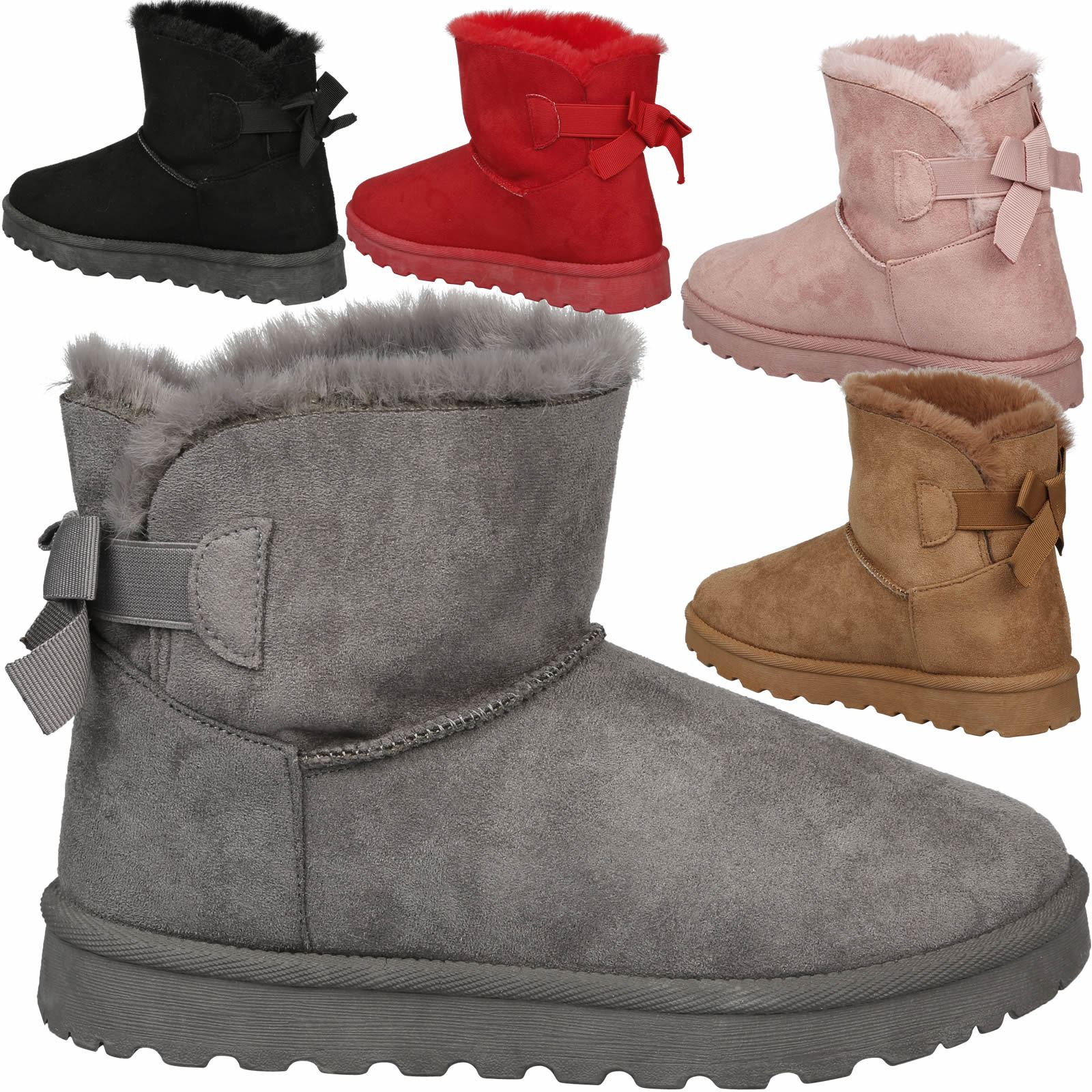 4fc852fda3f Details about Novalee Womens Flatform Flat Fur Lined Snow Ankle Boots Bow  Detail Ladies Shoes