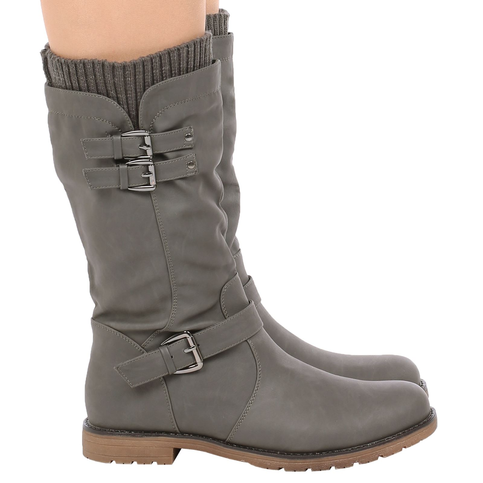 Natalia Womens Low Heel Buckle Zip Up Biker Sock Boots