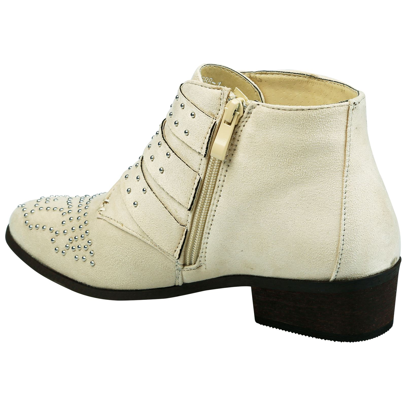 Liv-Womens-Flats-Low-Heels-Buckle-Strappy-Biker-Ankle-Boots-Ladies-Shoes-Studded thumbnail 5