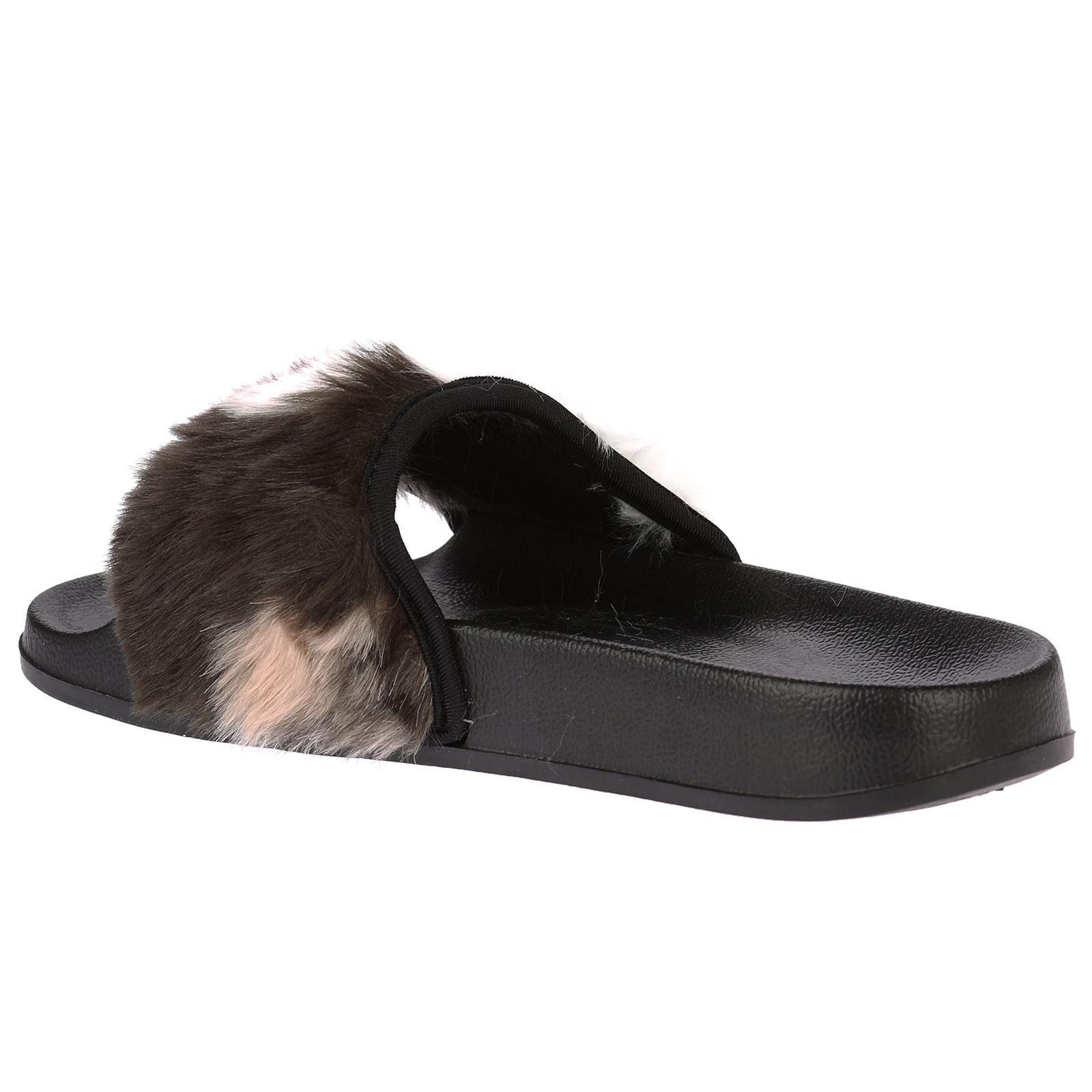 2a32800f447c Romy Womens Slip On Fur Flats Sandals Flip Flops Ladies Shoes ...