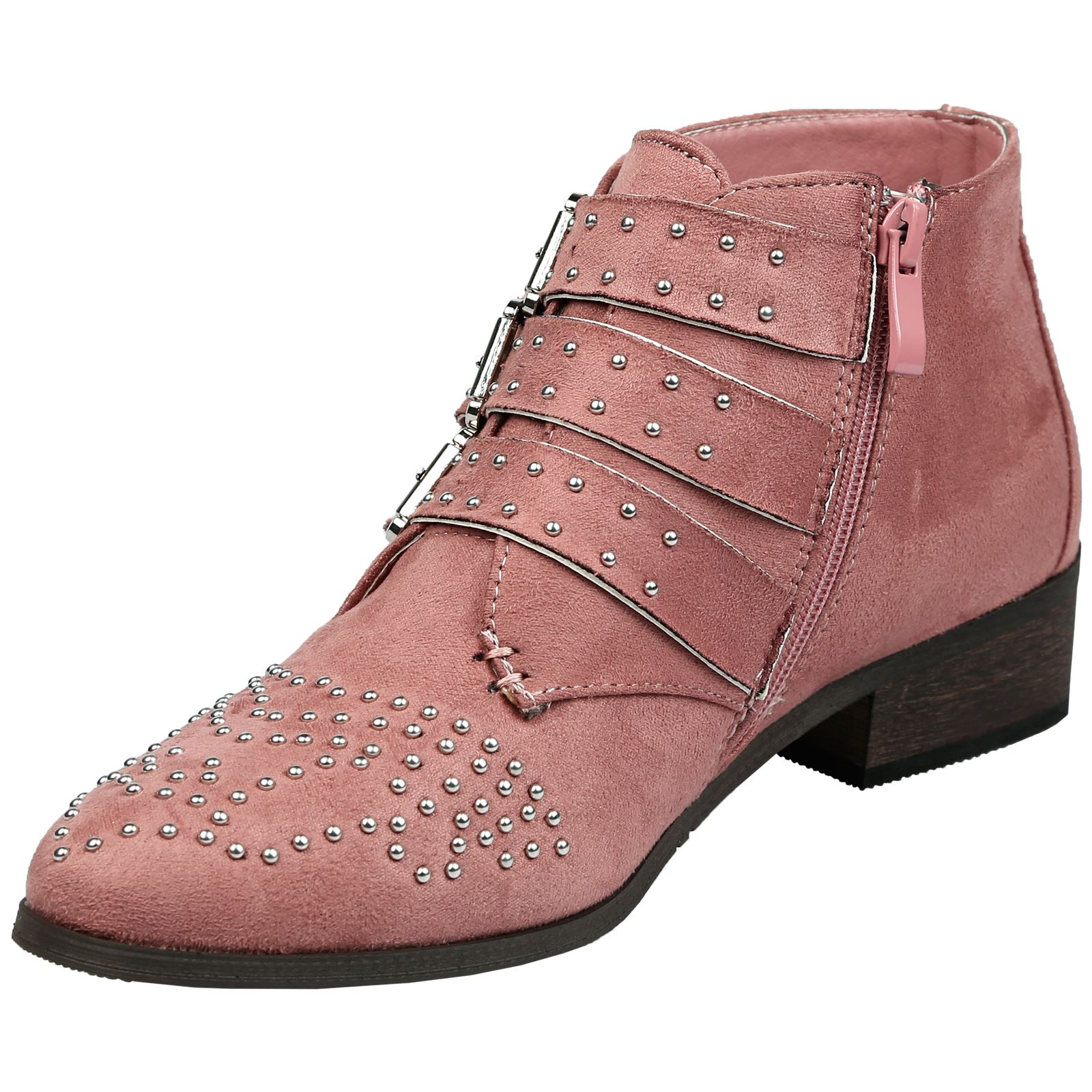 Liv-Womens-Flats-Low-Heels-Buckle-Strappy-Biker-Ankle-Boots-Ladies-Shoes-Studded thumbnail 28