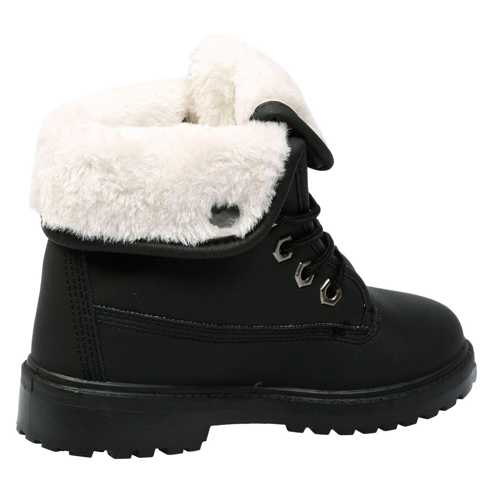 Nuevos Niños Niñas Botas al Tobillo Zapatos Con Cordones De Piel Forrada de Invierno para Niños Plana Informal