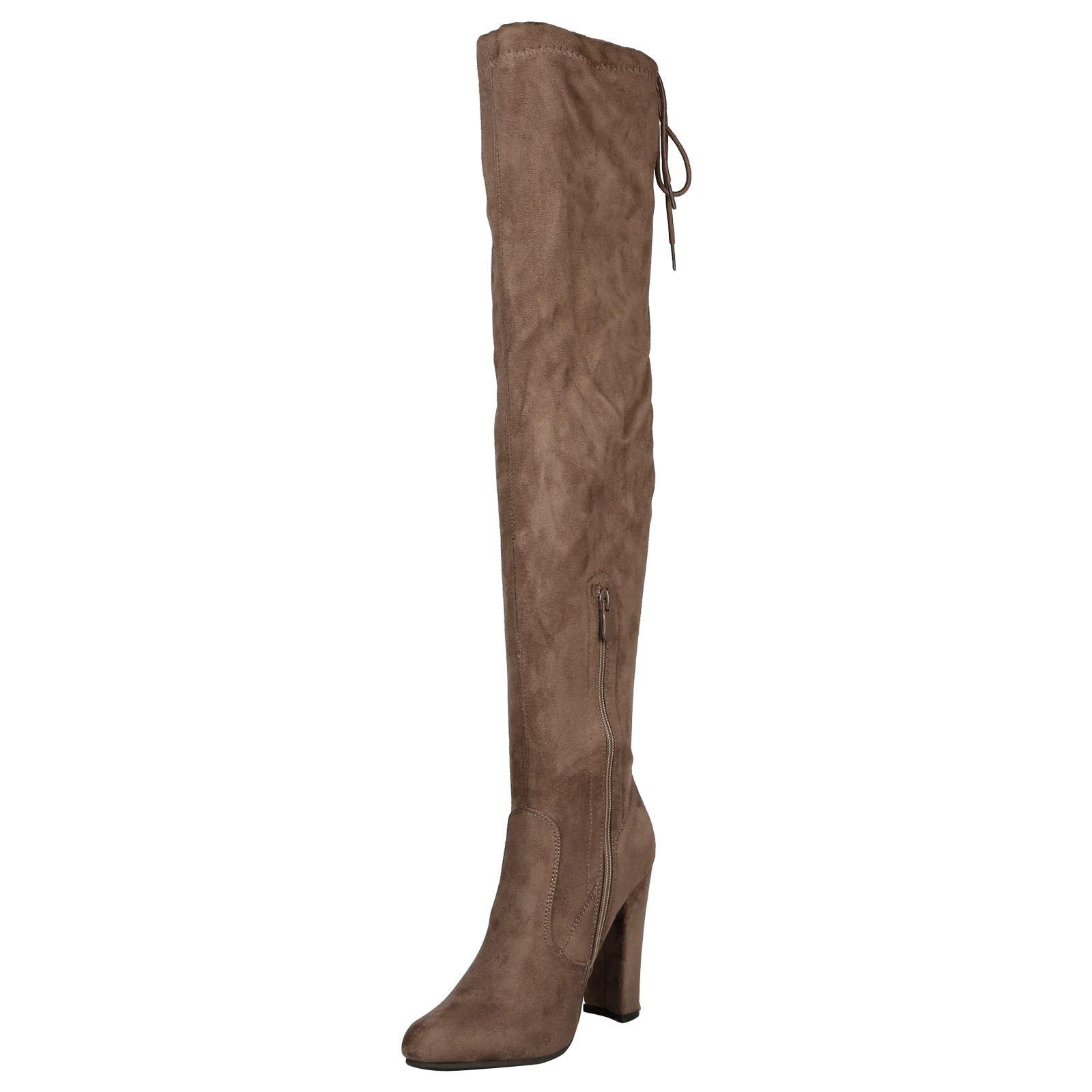 Iliana-Womens-Knee-High-Zip-Up-Adjustable-Pull-Strings-Mid-High-Block-Heel-Boots thumbnail 8