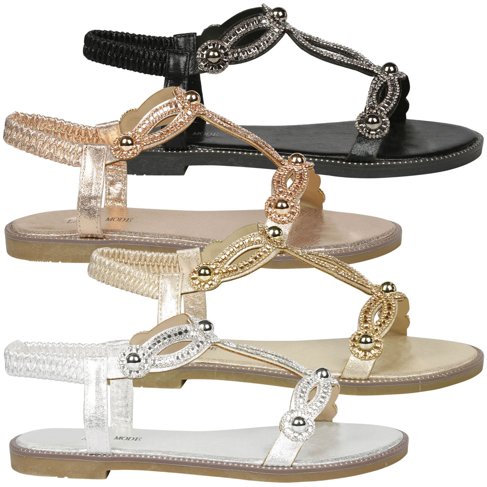 a09b38bae3d Details about Elle Womens Flats Peep Toe Diamante Studded Sandals Ladies  Summer Shoes Size New