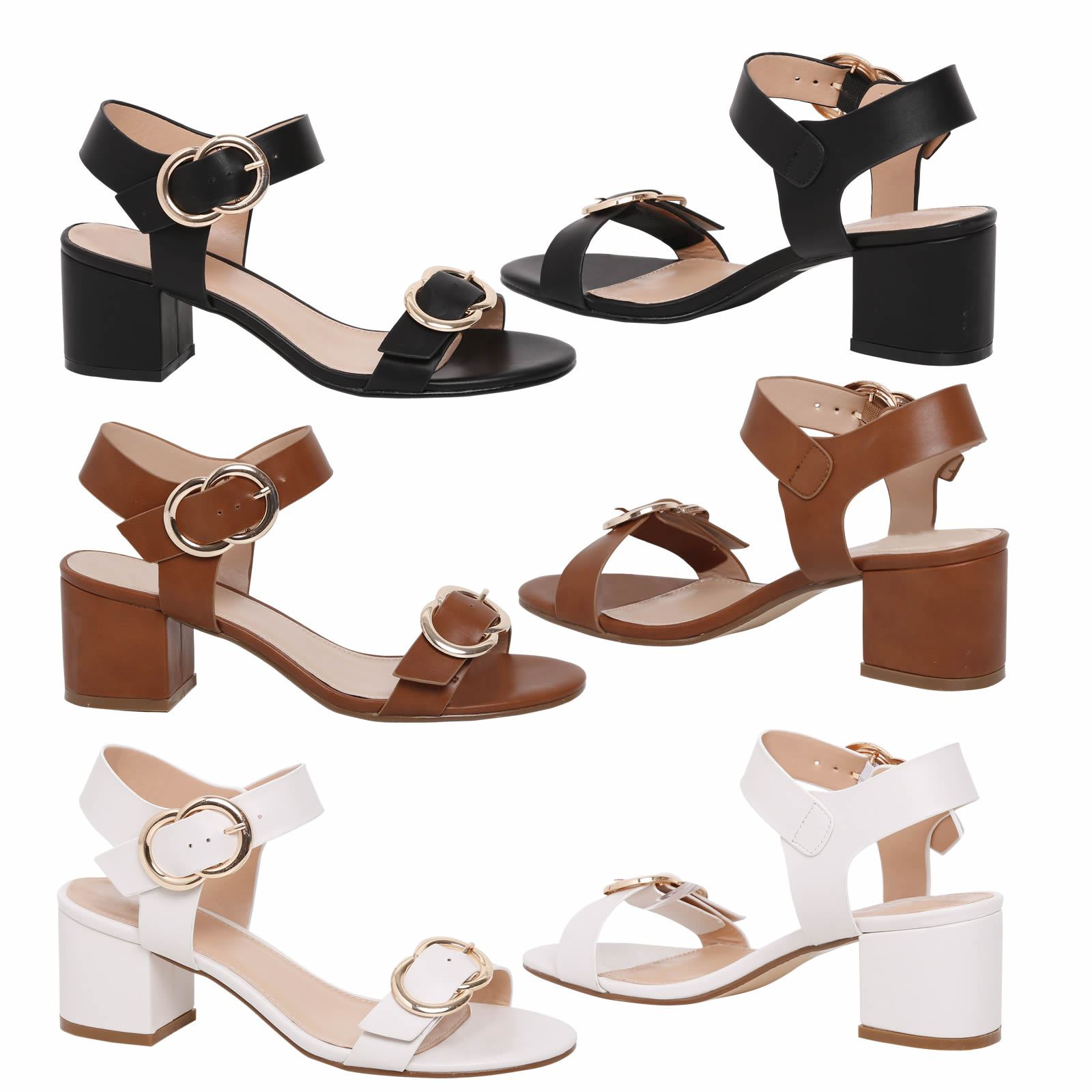 11a7945ffbf Details about Amora Womens Low Mid Block Heels Buckle Detail Peep Toe  Sandals Ladies Size
