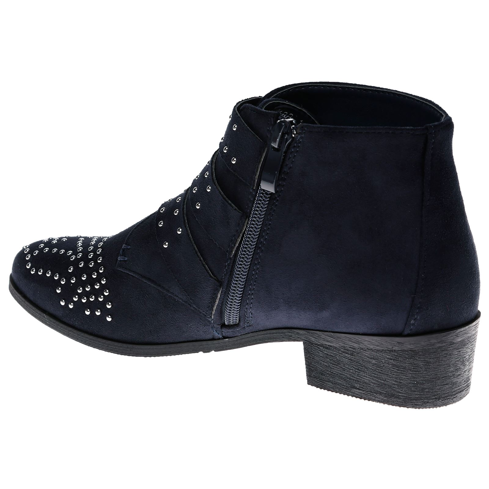 Liv-Womens-Flats-Low-Heels-Buckle-Strappy-Biker-Ankle-Boots-Ladies-Shoes-Studded thumbnail 25