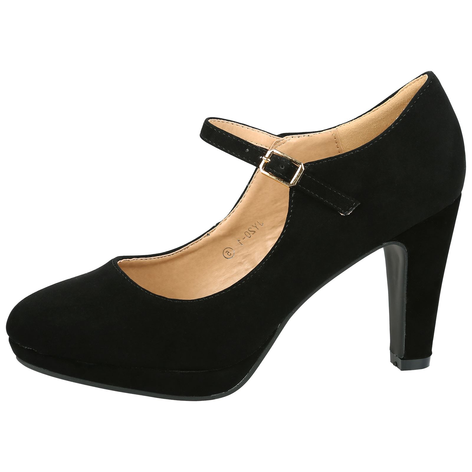 WOMENS SHOES LADIES MARY JANES COURT OFFICE WORK BUCKLE STRAP HIGH HEELS SIZE