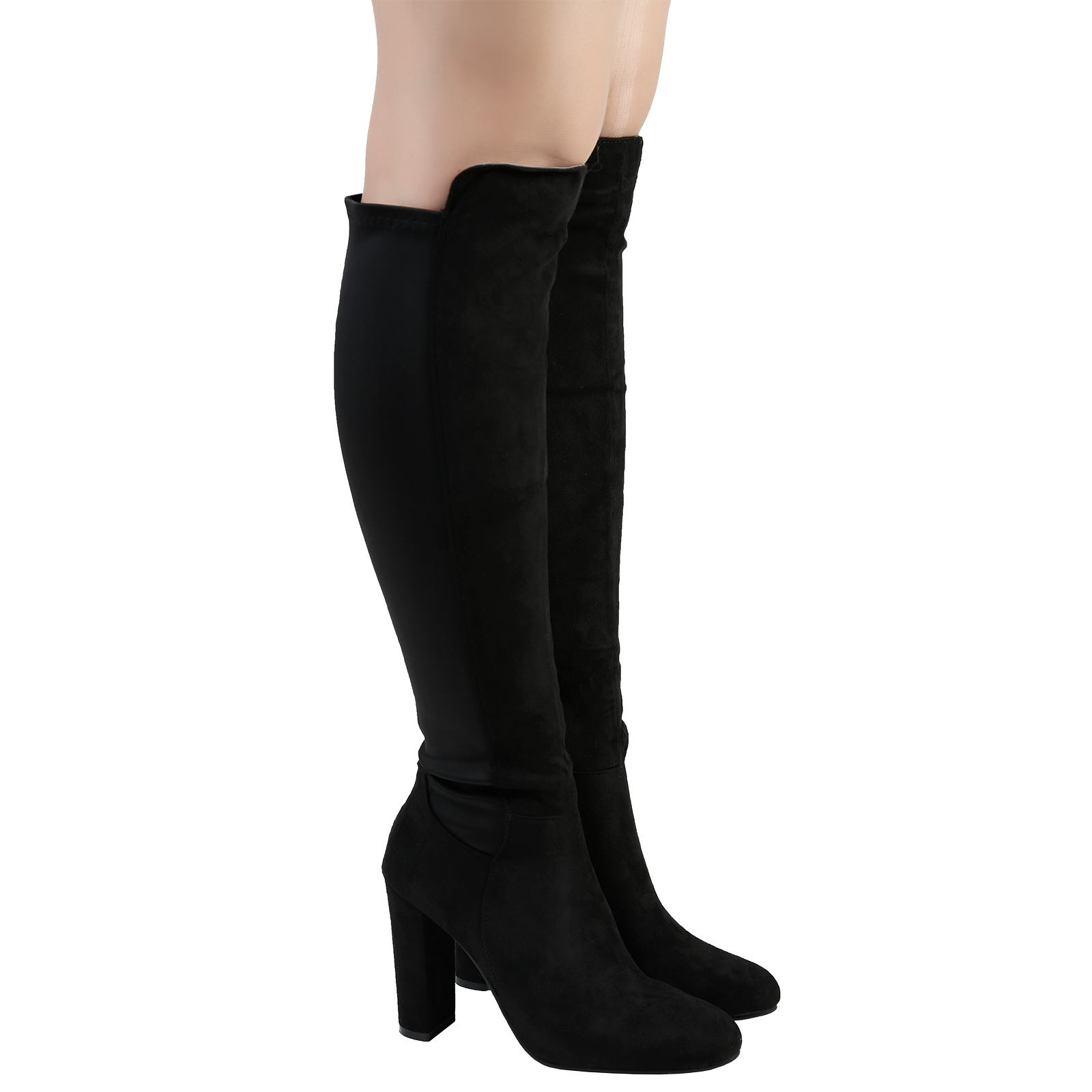 a204e1d2c04 Lola Womens Mid High Heels Stretch Knee High Boots Ladies Shoes ...