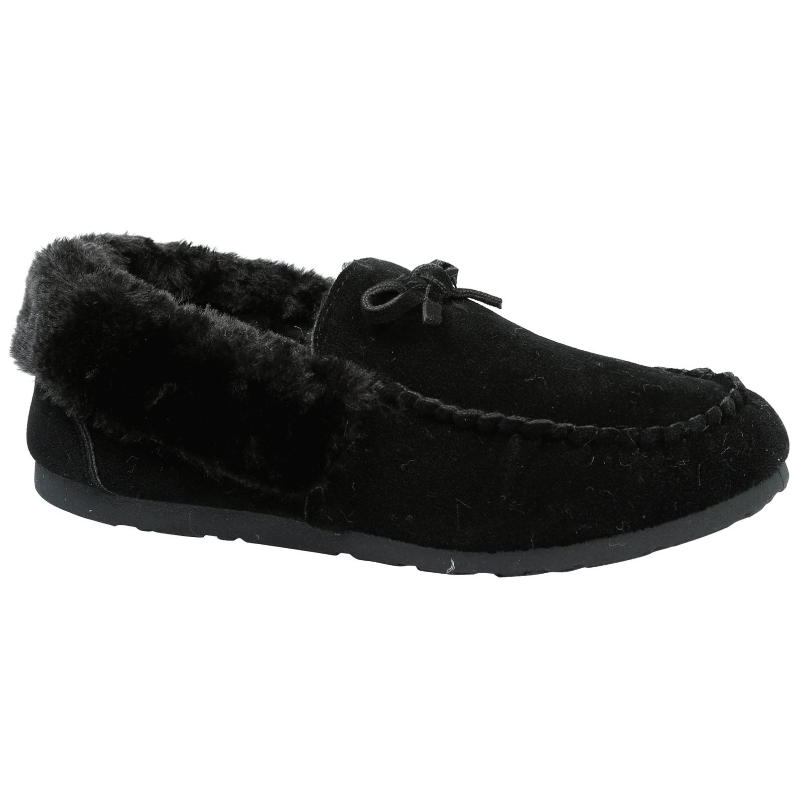 Vera Womens Flats Low Heels Fur Lined Slippers Moccasins