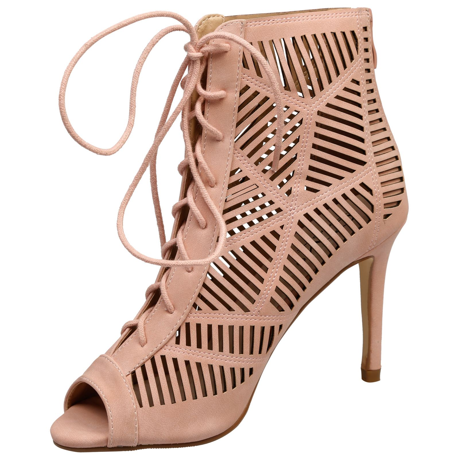 Anais-Womens-High-Heels-Stilettos-Lace-Up-Peep-Toe-Ankle-Boots-Ladies-Shoes-Size thumbnail 12