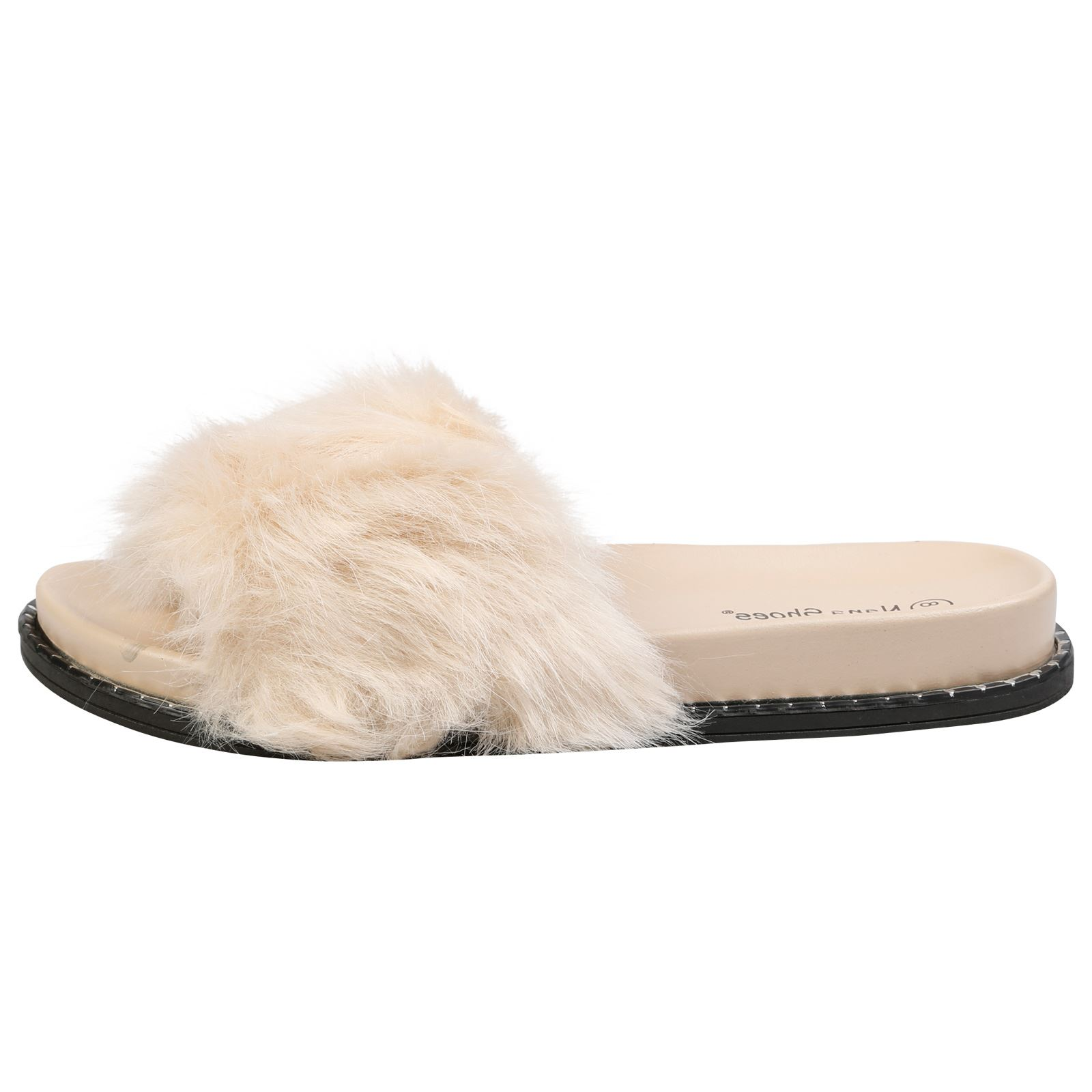WOMENS SHOES LADIES POOL SLIDES MULES SANDALS FLUFFY FURRY SLIP ON ... a21c5fdfbc