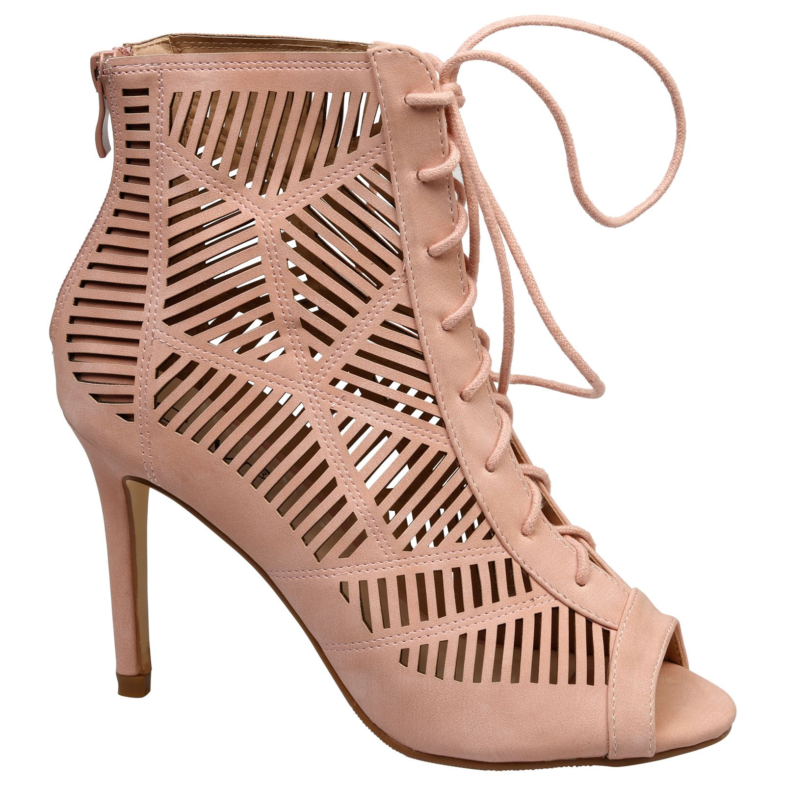 Anais-Womens-High-Heels-Stilettos-Lace-Up-Peep-Toe-Ankle-Boots-Ladies-Shoes-Size thumbnail 11