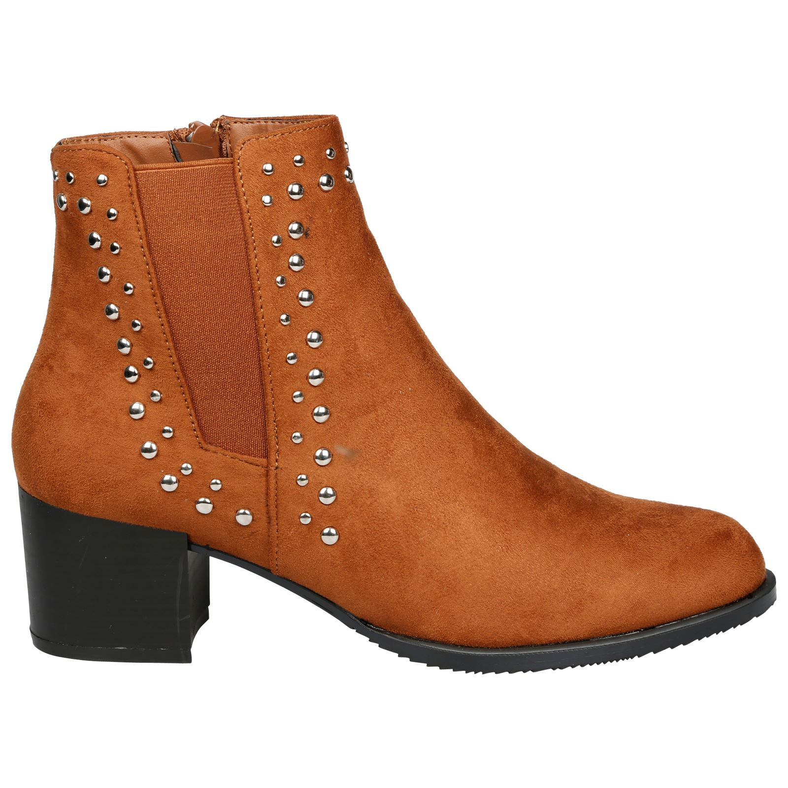 Luna-Womens-Low-Mid-Block-Heel-Studded-Chelsea-Zip-Up-Ankle-Boots-Casual-Ladies thumbnail 7