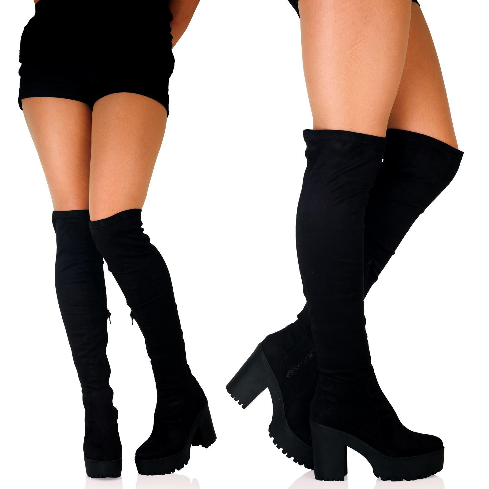 thigh high chunky heel boots