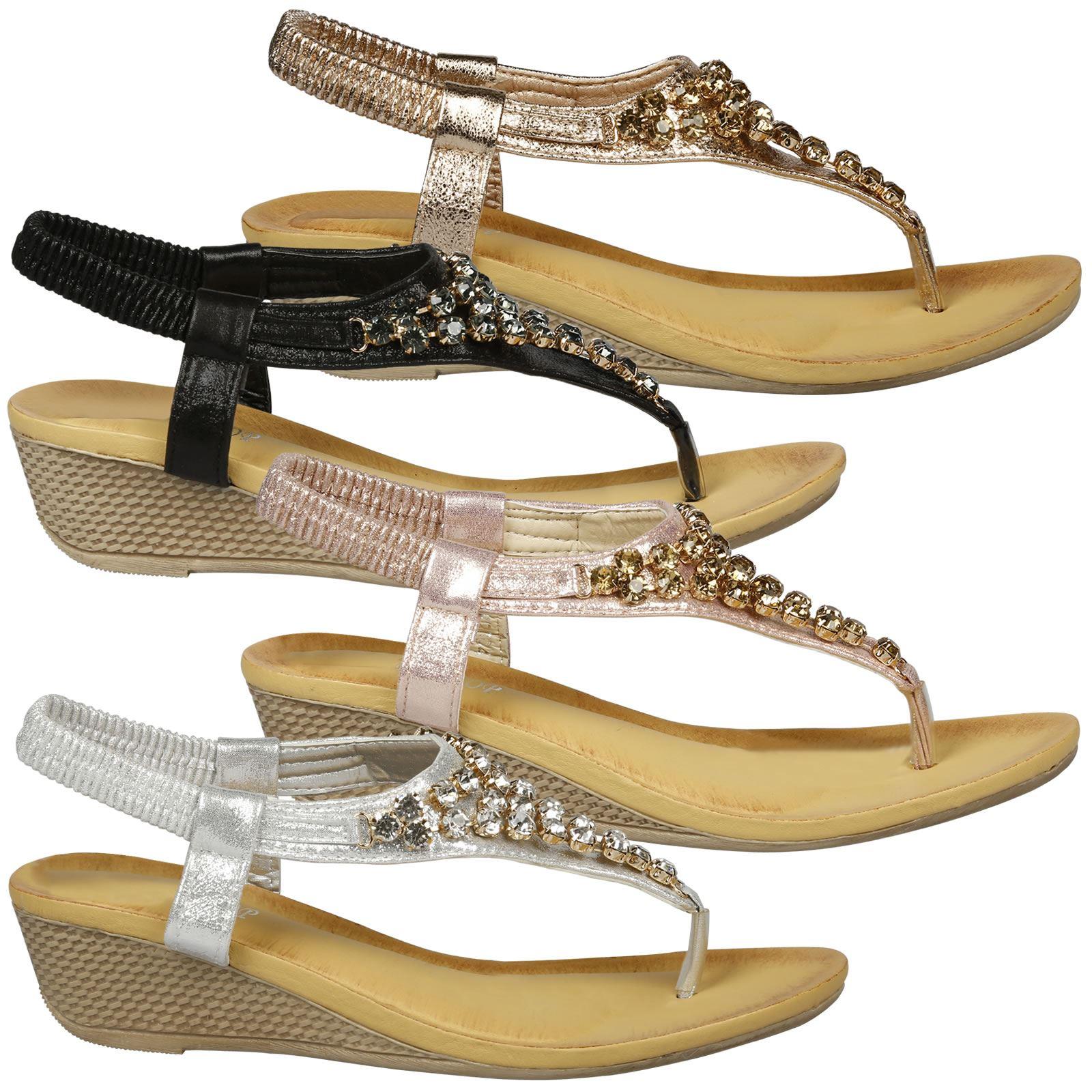 437d11193a5 Details about Ceres Womens Low Wedges Heels Toe Post Sandals Ladies  Diamante Shoes Summer Size