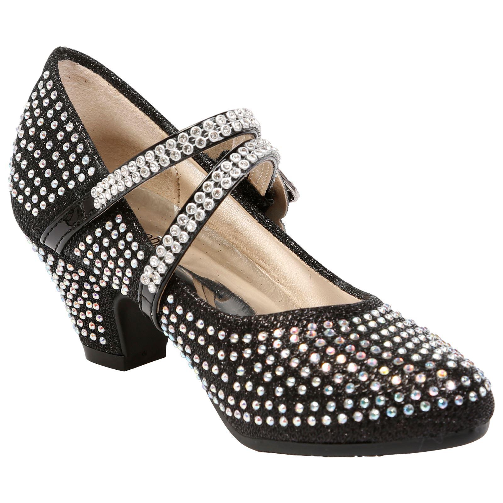 Niñas Niños Childrens Tacón Bajo Fiesta Boda Diamante Estilo Mary Jane Zapatos Talla