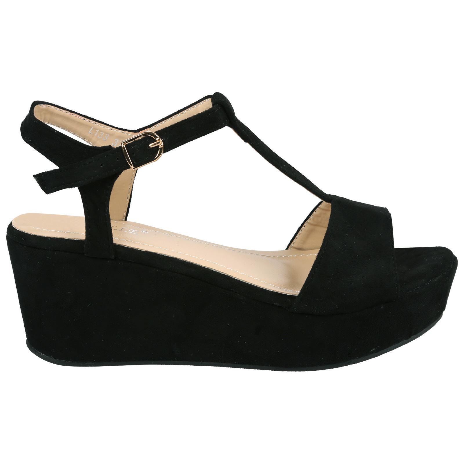 Womens Womens Diamante Mid Wedge Flip Flops Pumps Flatform Open Toe Sandals Cheap Sale Size 40