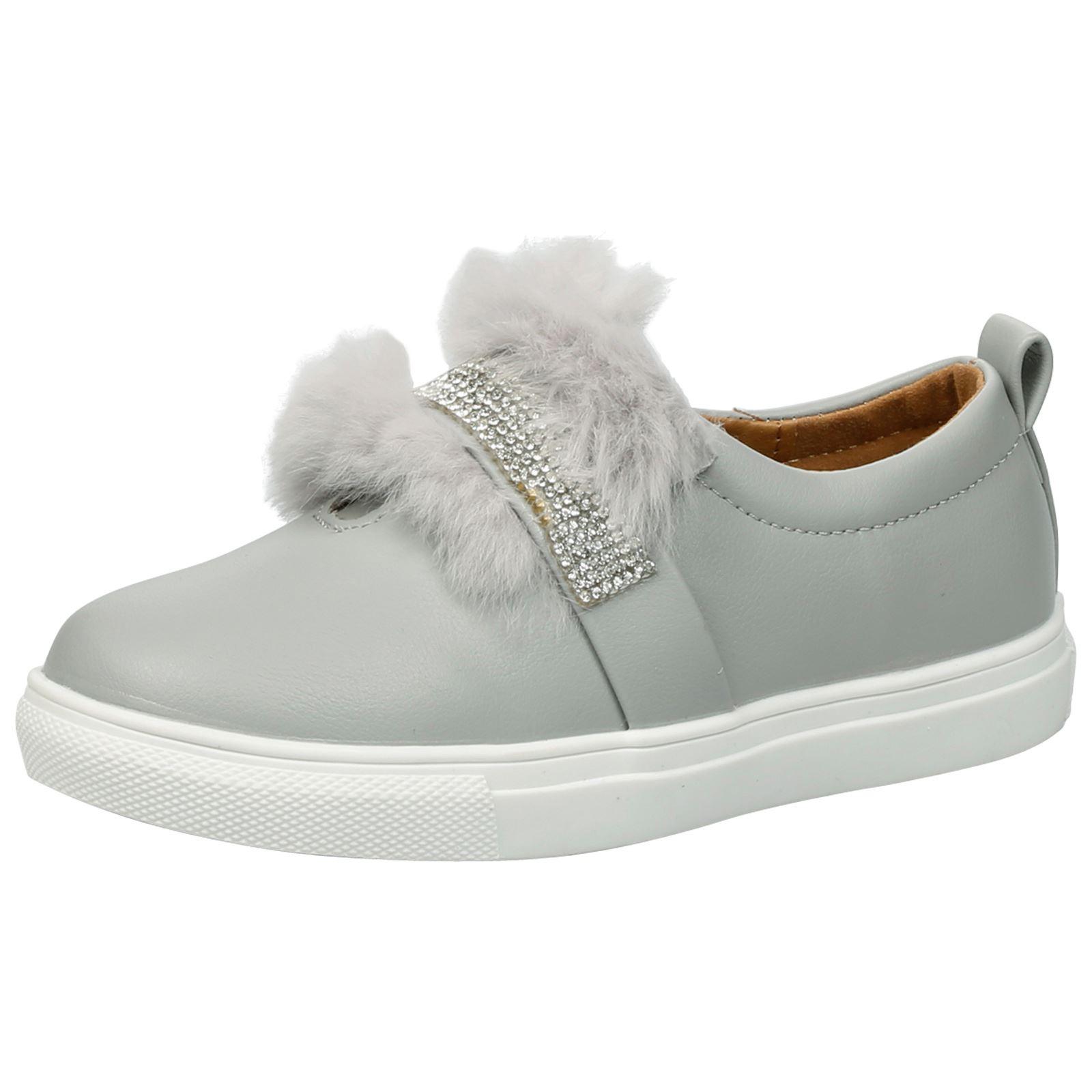 Niños Niñas Niños Zapatillas Plimsolls Zapatillas Bombas Zapatos De Piel Diamante Tamaño