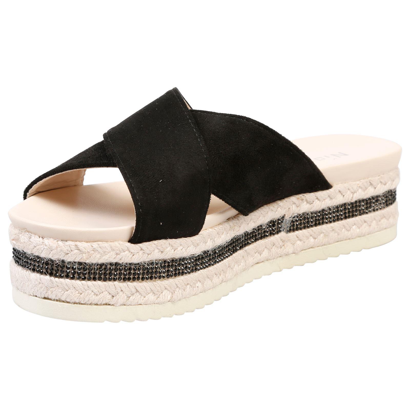 ba7e6f74b6e4 ... Primrose Womens Flatform Slip On On On Sandals Ladies Shoes Sliders  Peep Toe Diamante ca5bbe ...