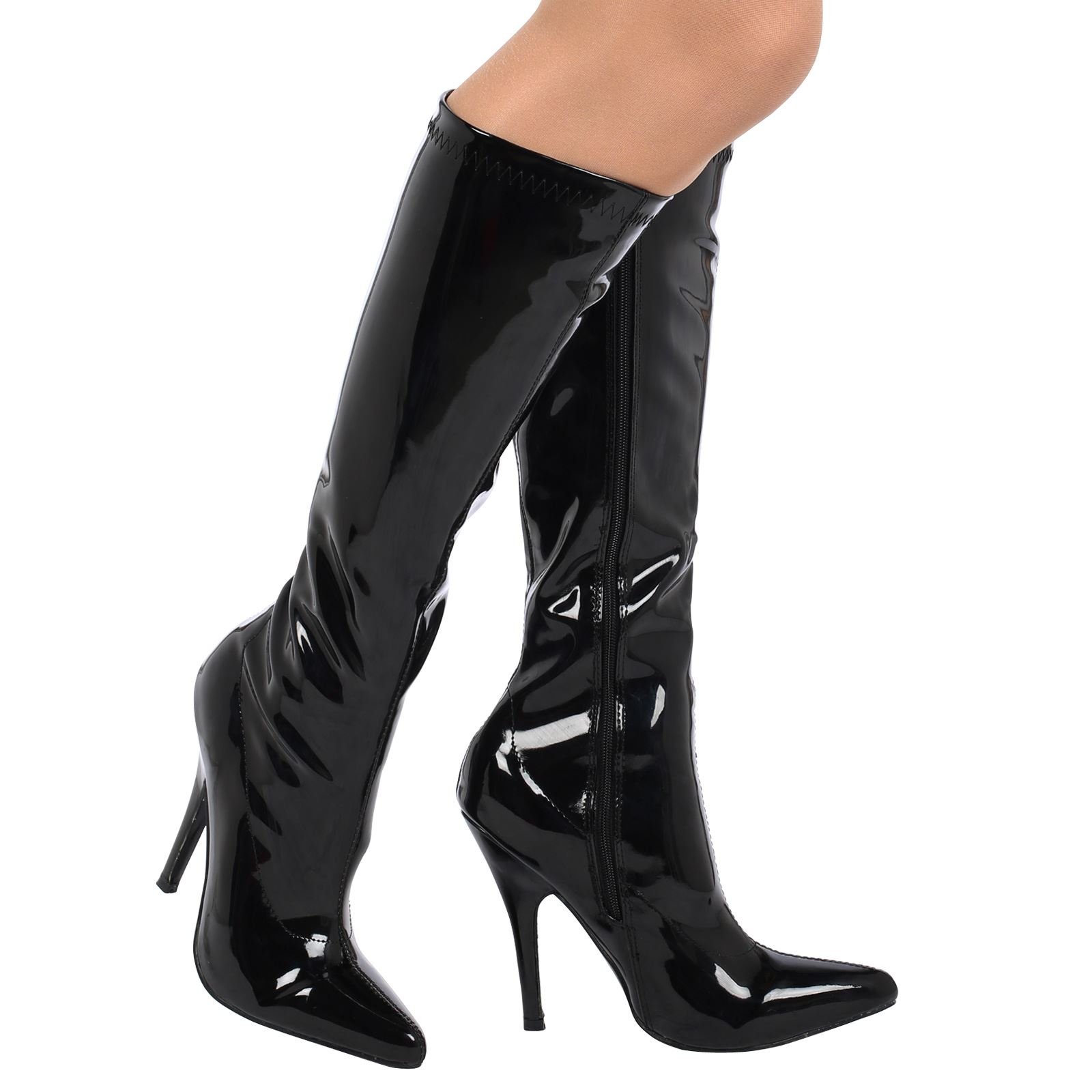 womens boots ladies under knee high heels stiletto pointed toe shoes size new ebay. Black Bedroom Furniture Sets. Home Design Ideas
