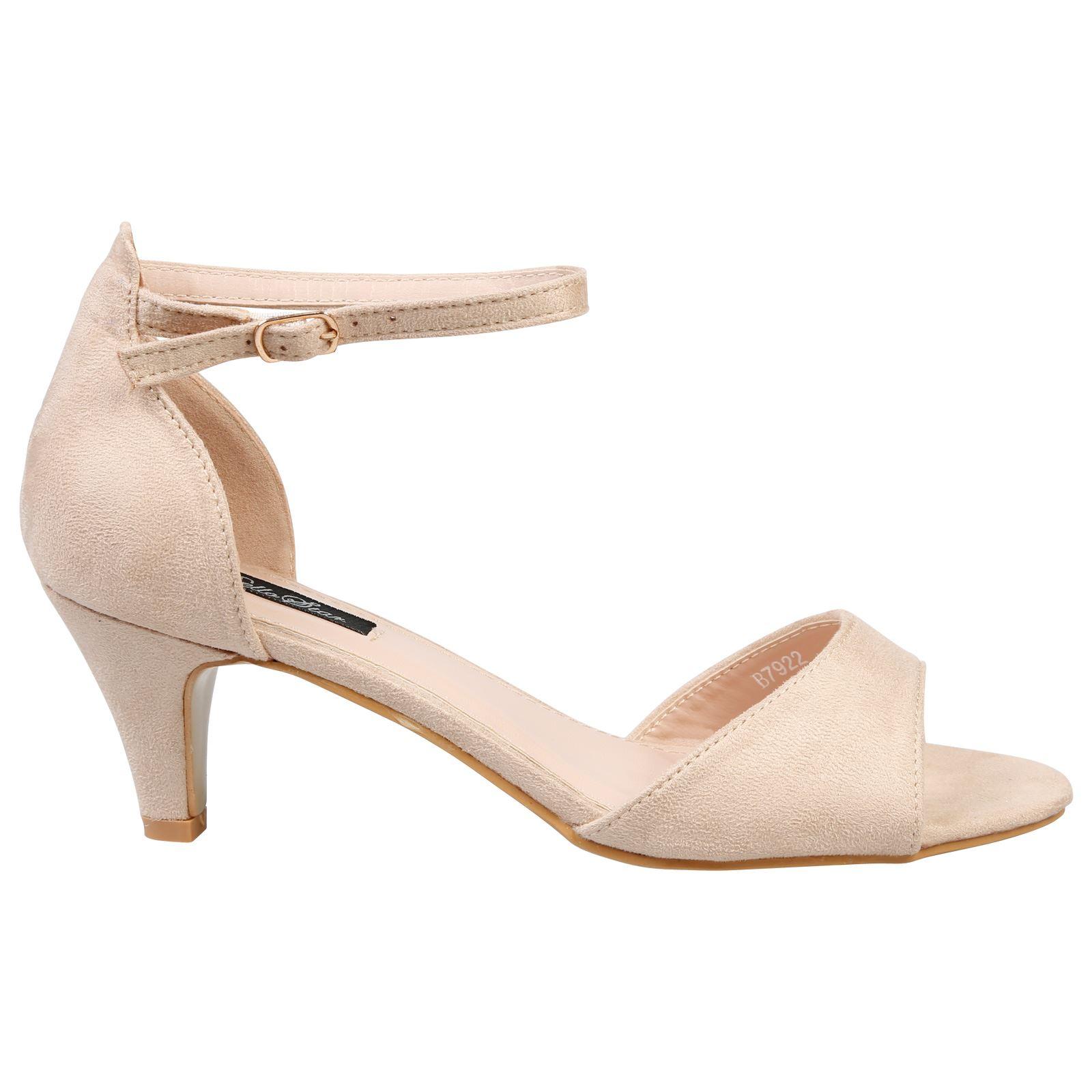 5975a918b87 Laurie Womens Low Mid Kitten Heel Ankle Strap Sandals Ladies Peep ...