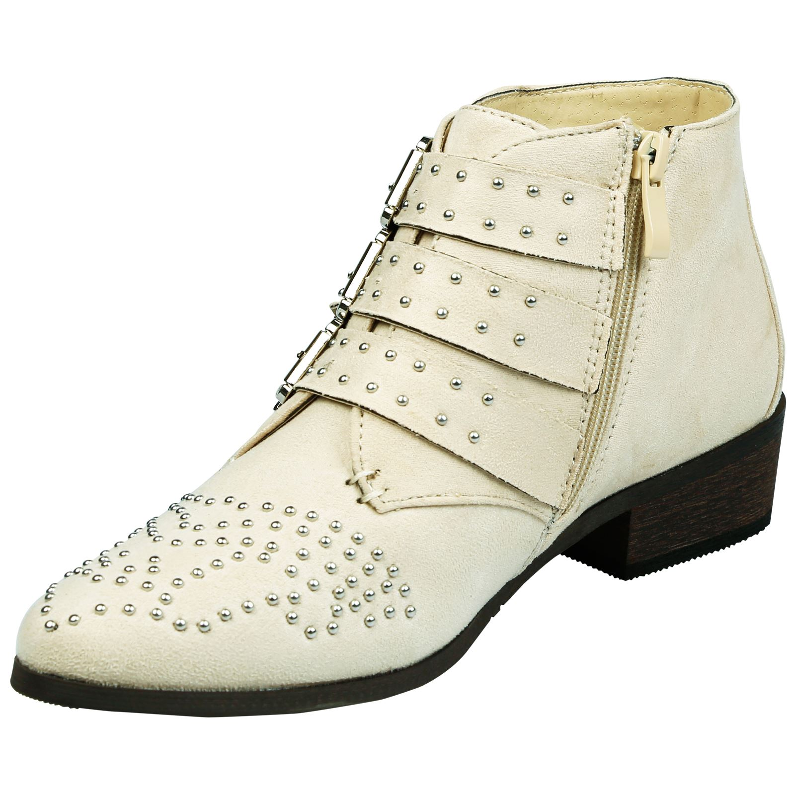 Liv-Womens-Flats-Low-Heels-Buckle-Strappy-Biker-Ankle-Boots-Ladies-Shoes-Studded thumbnail 4