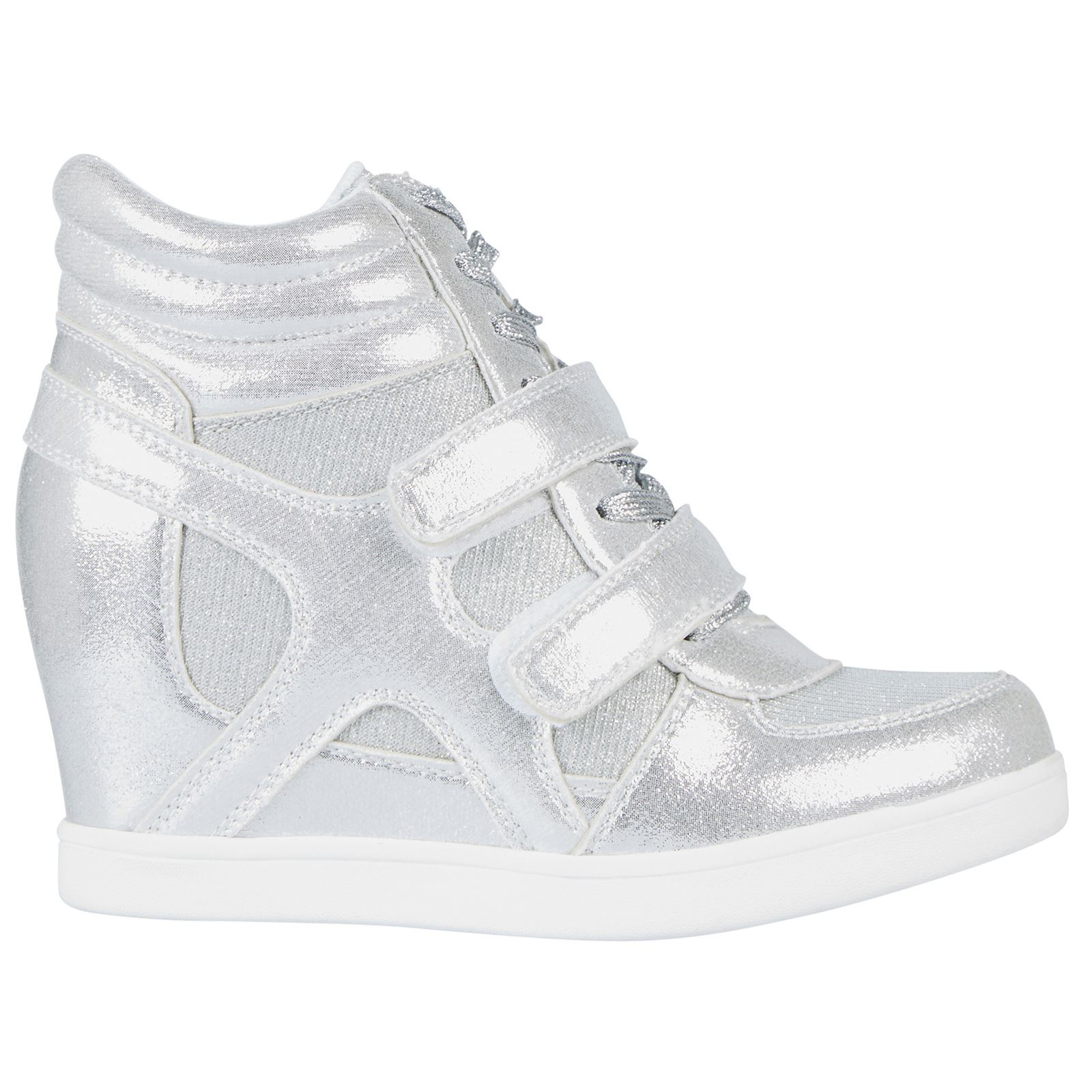 c4a0532940f1 Thea Womens Concealed Wedges Heels Trainers Ladies High Top Shoes Pumps  Size New