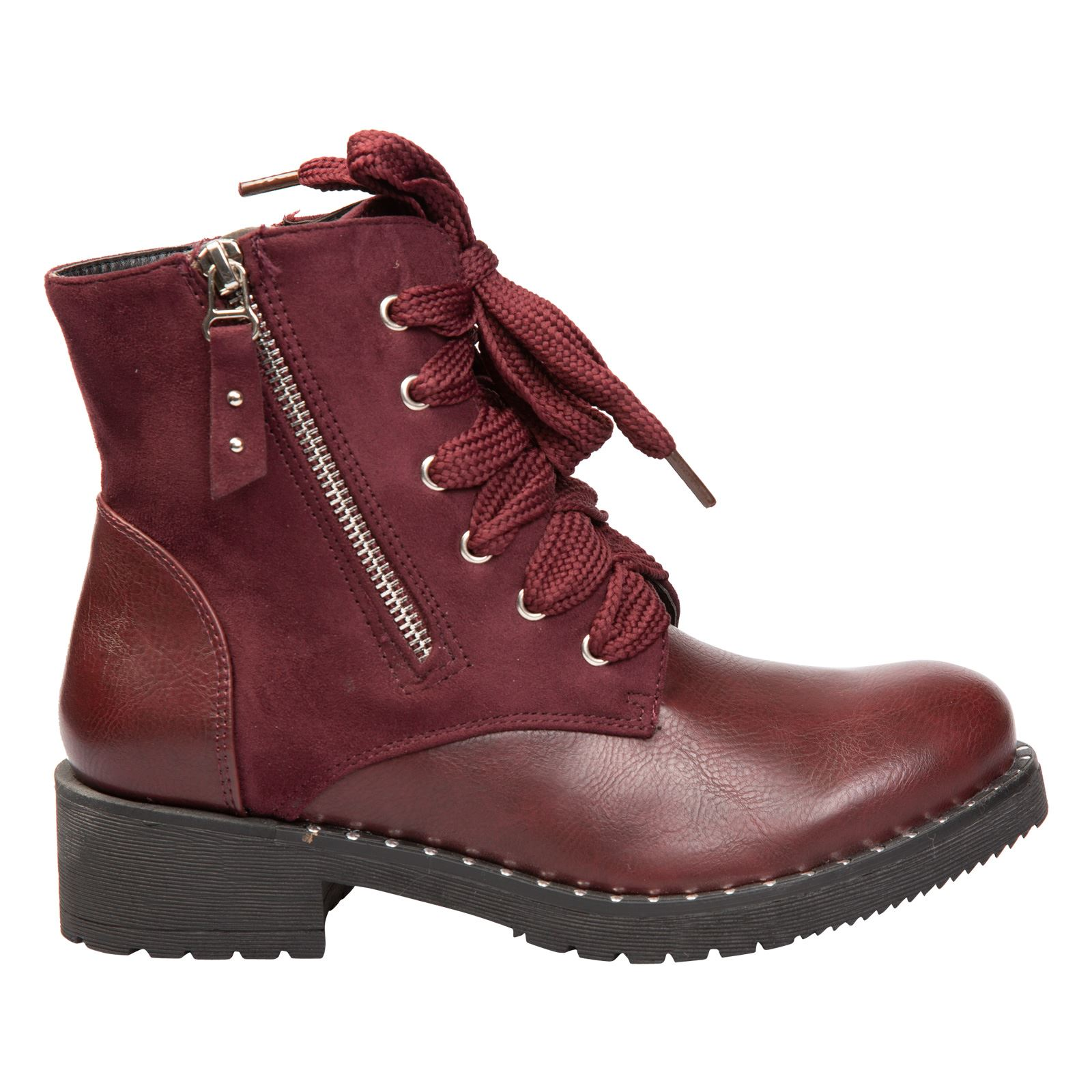 3580b7a442 Parker Womens Low Heel Chunky Biker Combat Ankle Boots Ladies Shoes ...