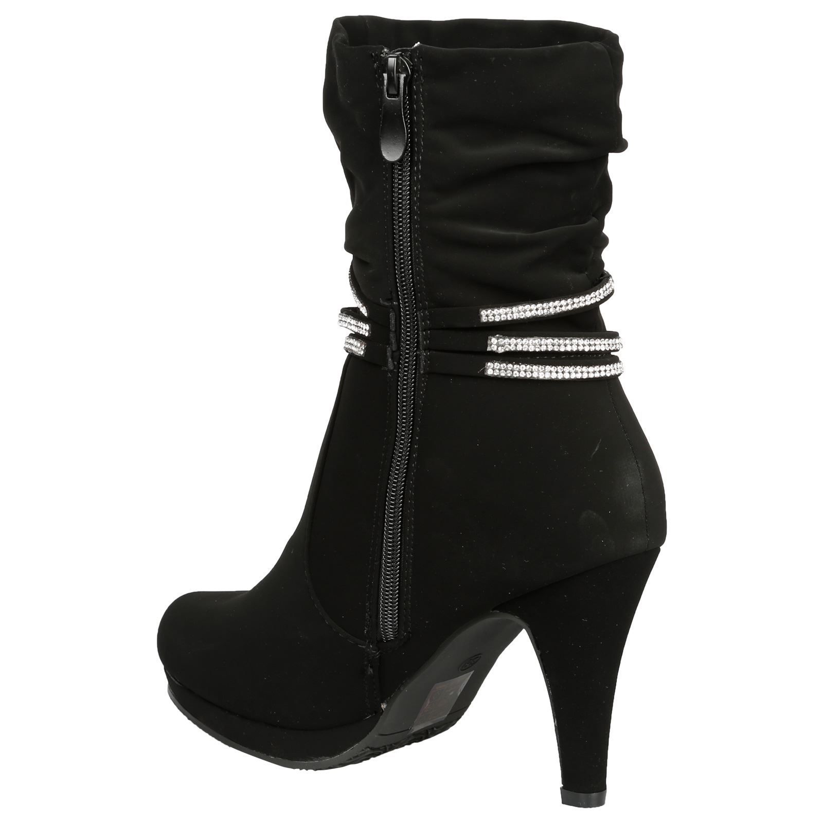 Estrella-Womens-Slim-High-Heel-Diamante-Strap-Slouch-Ankle-Boots-Casual-Style thumbnail 5