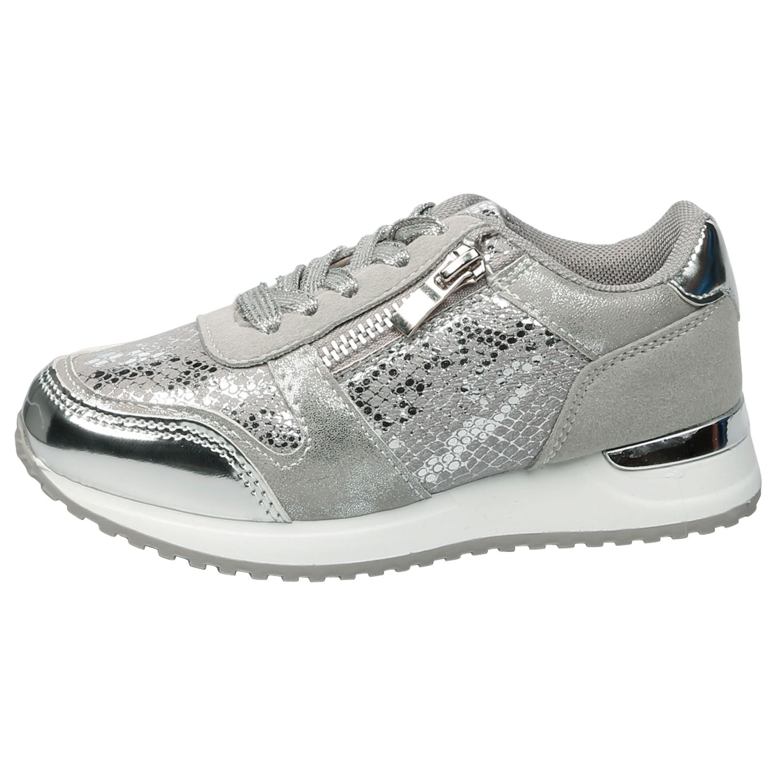 KIDS GIRLS LACE UP TRAINERS SNEAKERS PUMPS SHIMMER SPORTS SCHOOL STYLE SIZE NEW