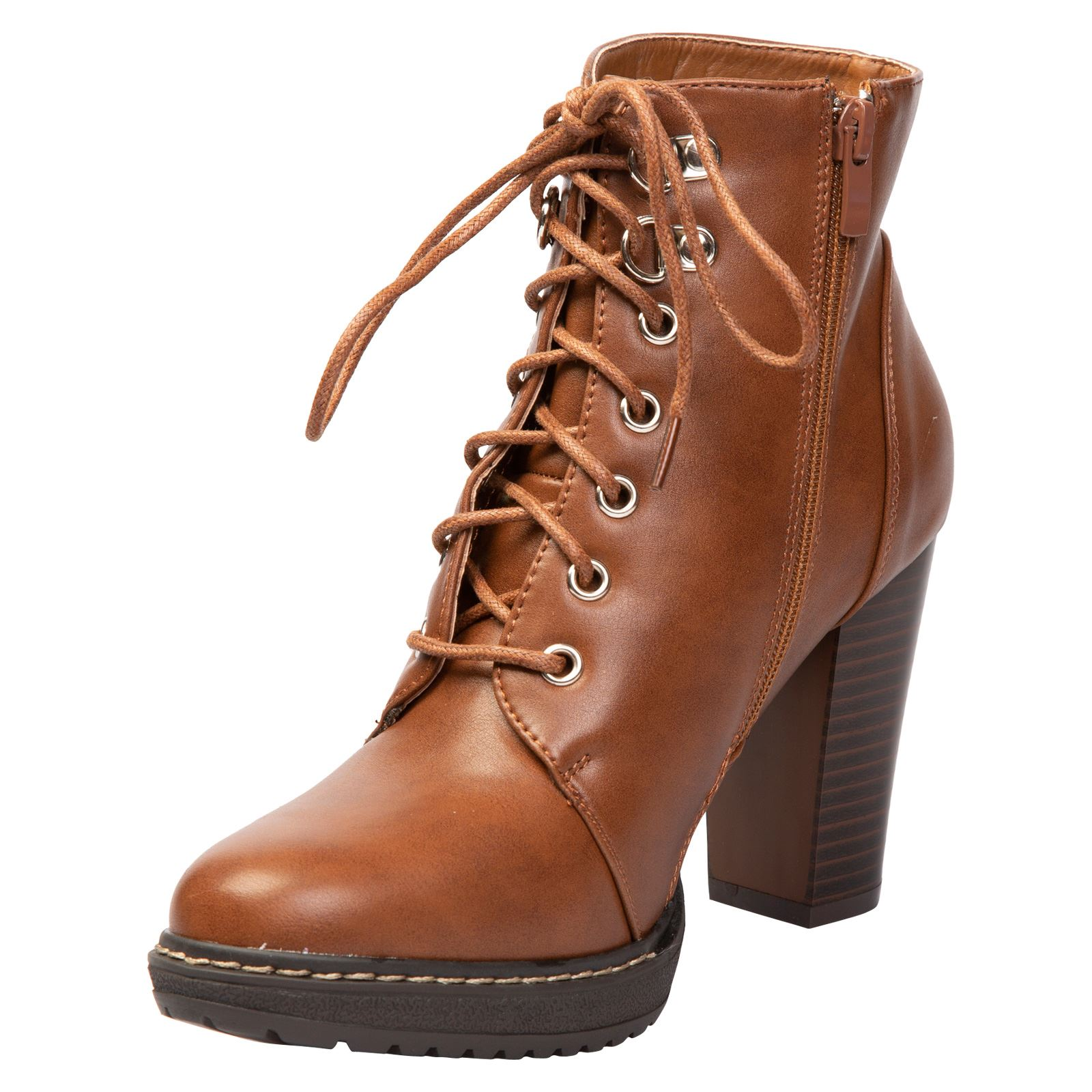 Reese-Womens-High-Block-Heels-Lace-Up-Ankle-Boots-Combat-Platform-Shoes-Size-New