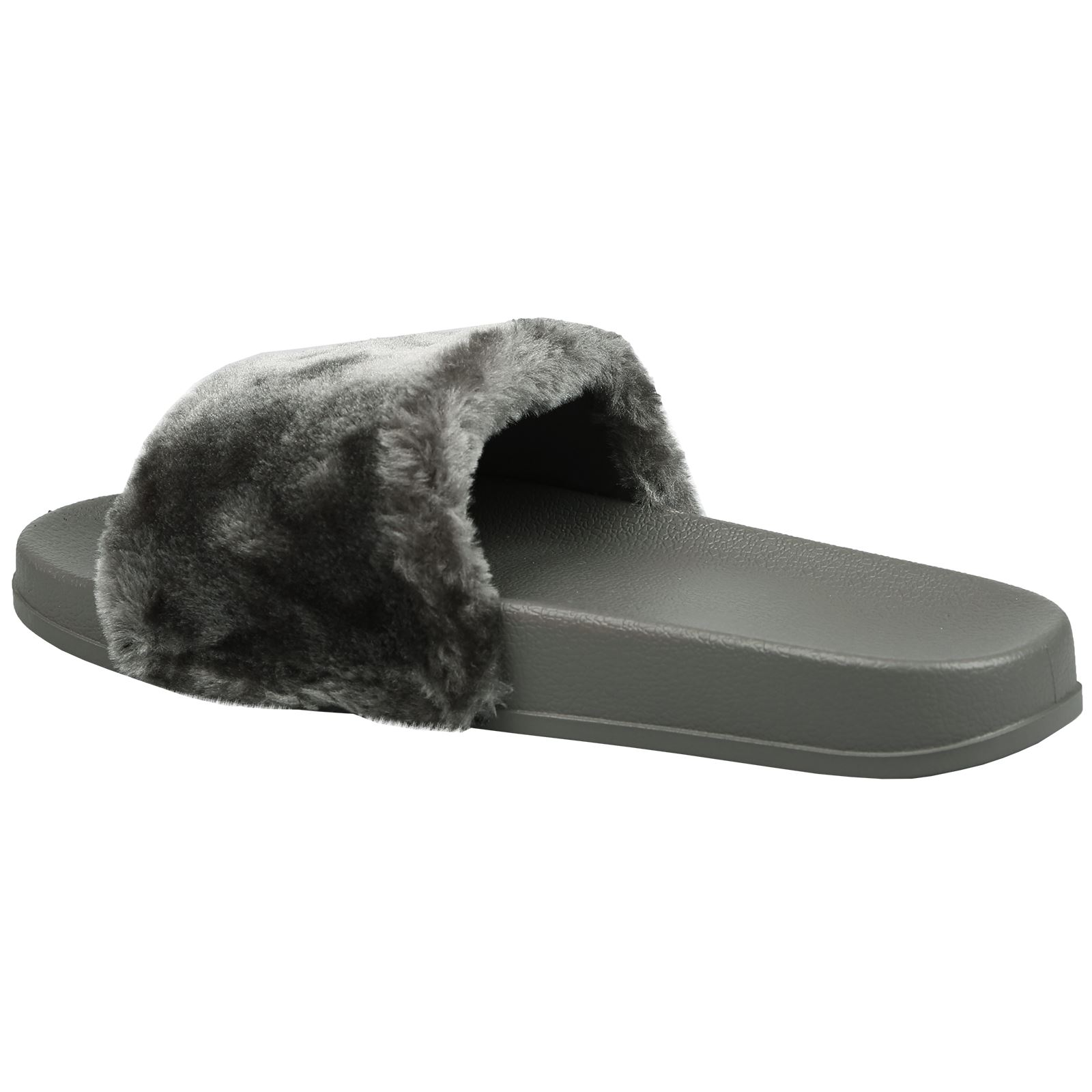 a2417ccc4 Romy Womens Slip On Fur Trim Flat Sandals Flip Flops Ladies Shoes ...