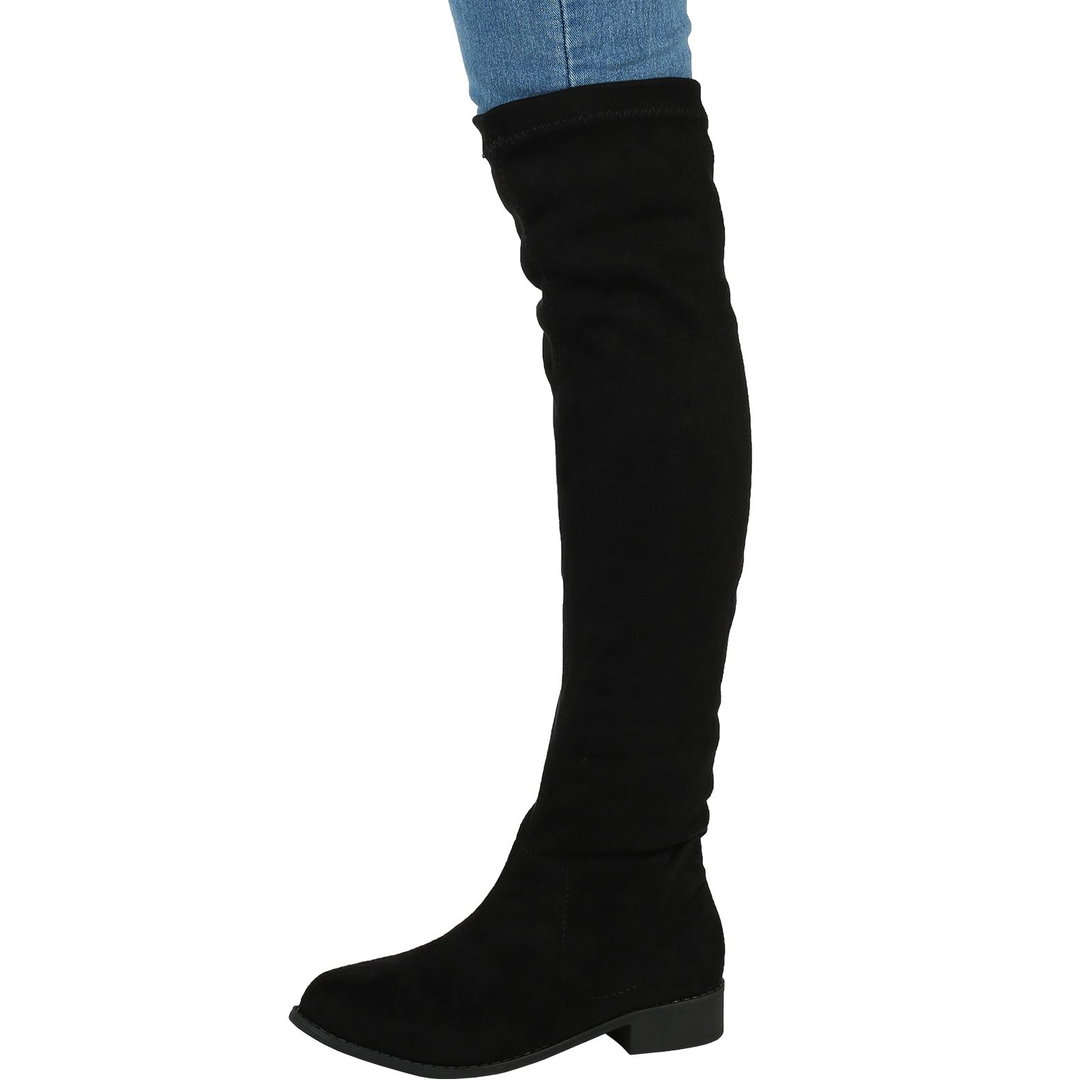 womens boots ladies flat low heel knee high thigh stretch winter soft size new ebay. Black Bedroom Furniture Sets. Home Design Ideas