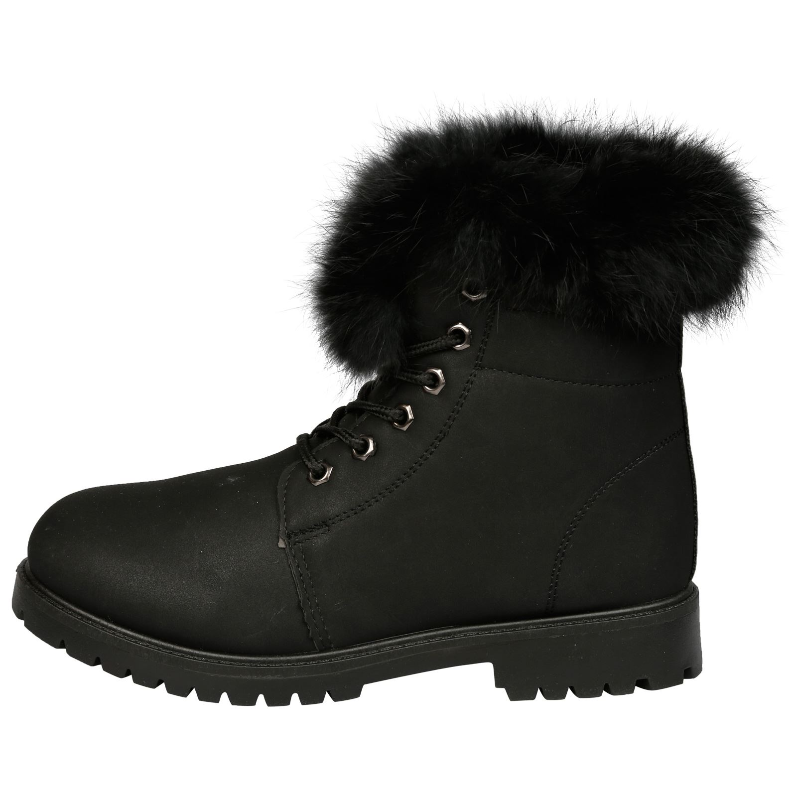 NEW-WOMEN-SHOES-LADIES-FUR-LINED-LOW-HEEL-LACE-UP-ANKLE-BOOTS-CASUAL-STYLE-SIZE thumbnail 8