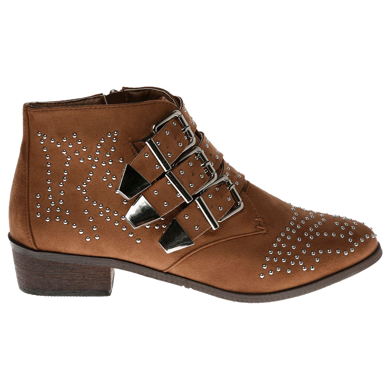 Liv-Womens-Flats-Low-Heels-Buckle-Strappy-Biker-Ankle-Boots-Ladies-Shoes-Studded thumbnail 15