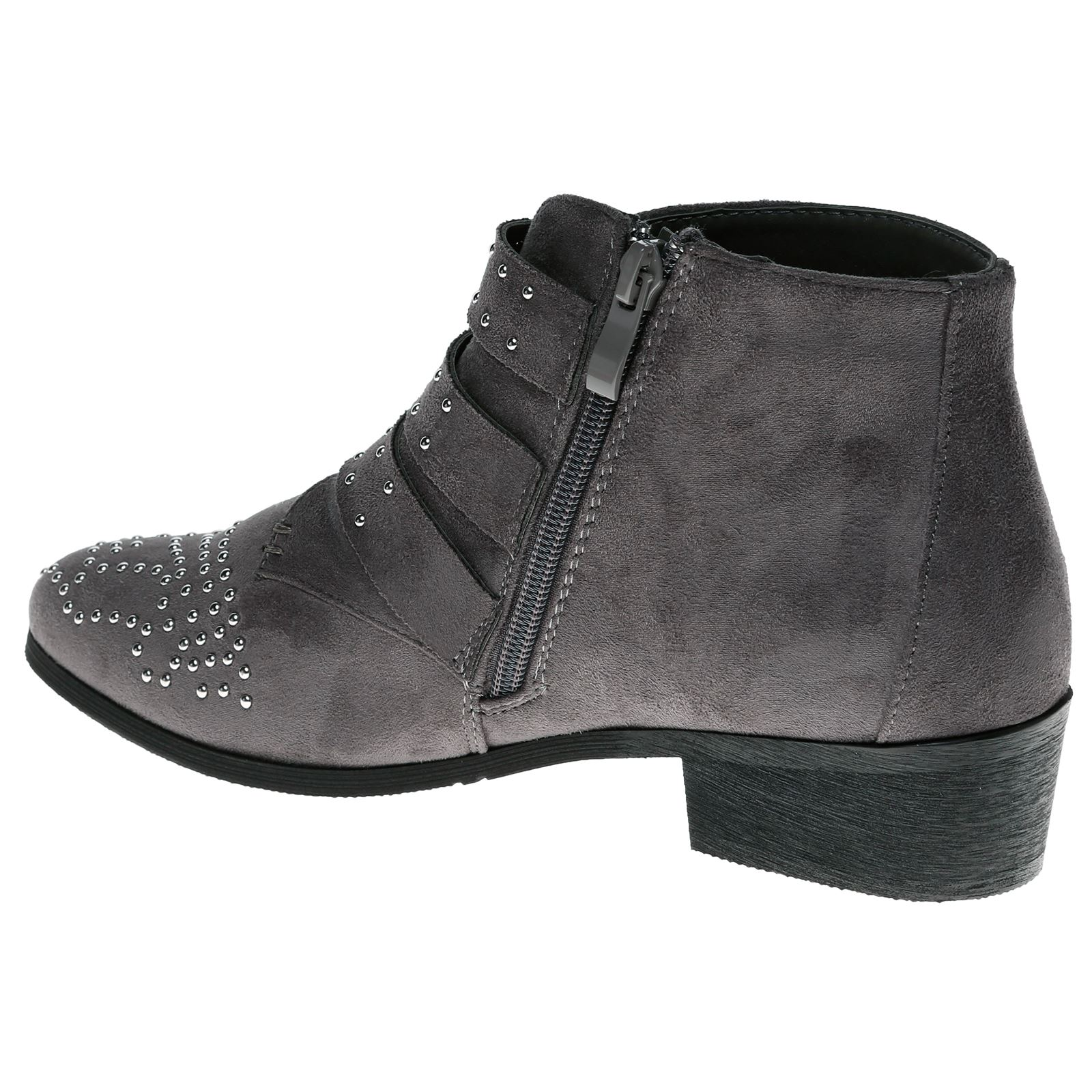 Liv-Womens-Flats-Low-Heels-Buckle-Strappy-Biker-Ankle-Boots-Ladies-Shoes-Studded thumbnail 21