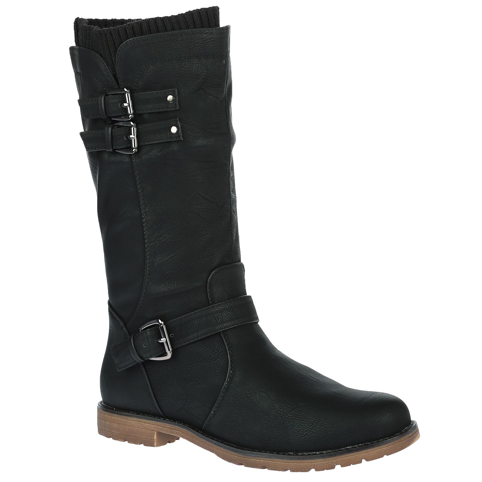 womens low heel buckle zip up biker sock boots