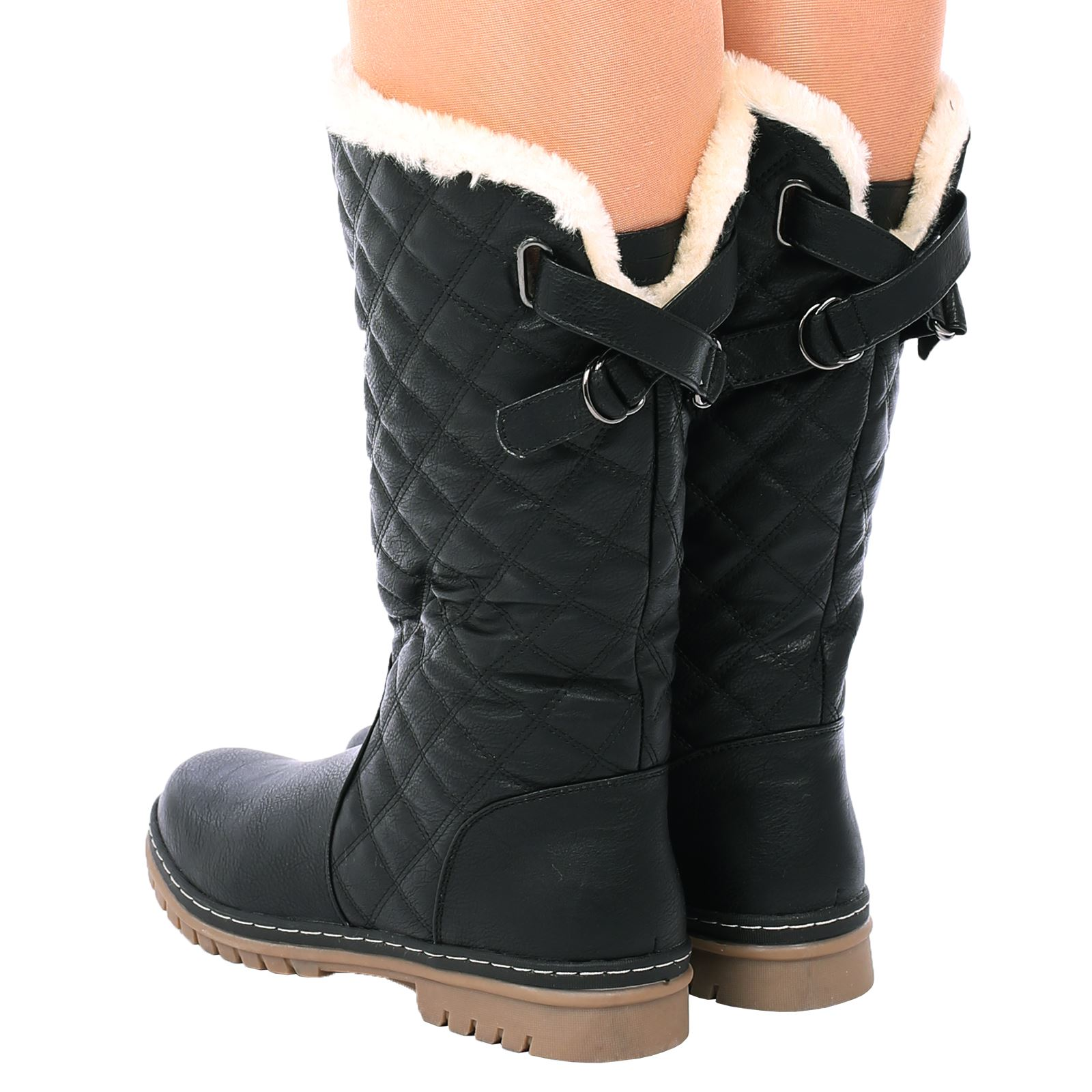 f5efa4343d3 Details about S2A Womens Ladies Beige Fur Lined Quilted Rain Moon Ski  Winter Warm Snow Boots