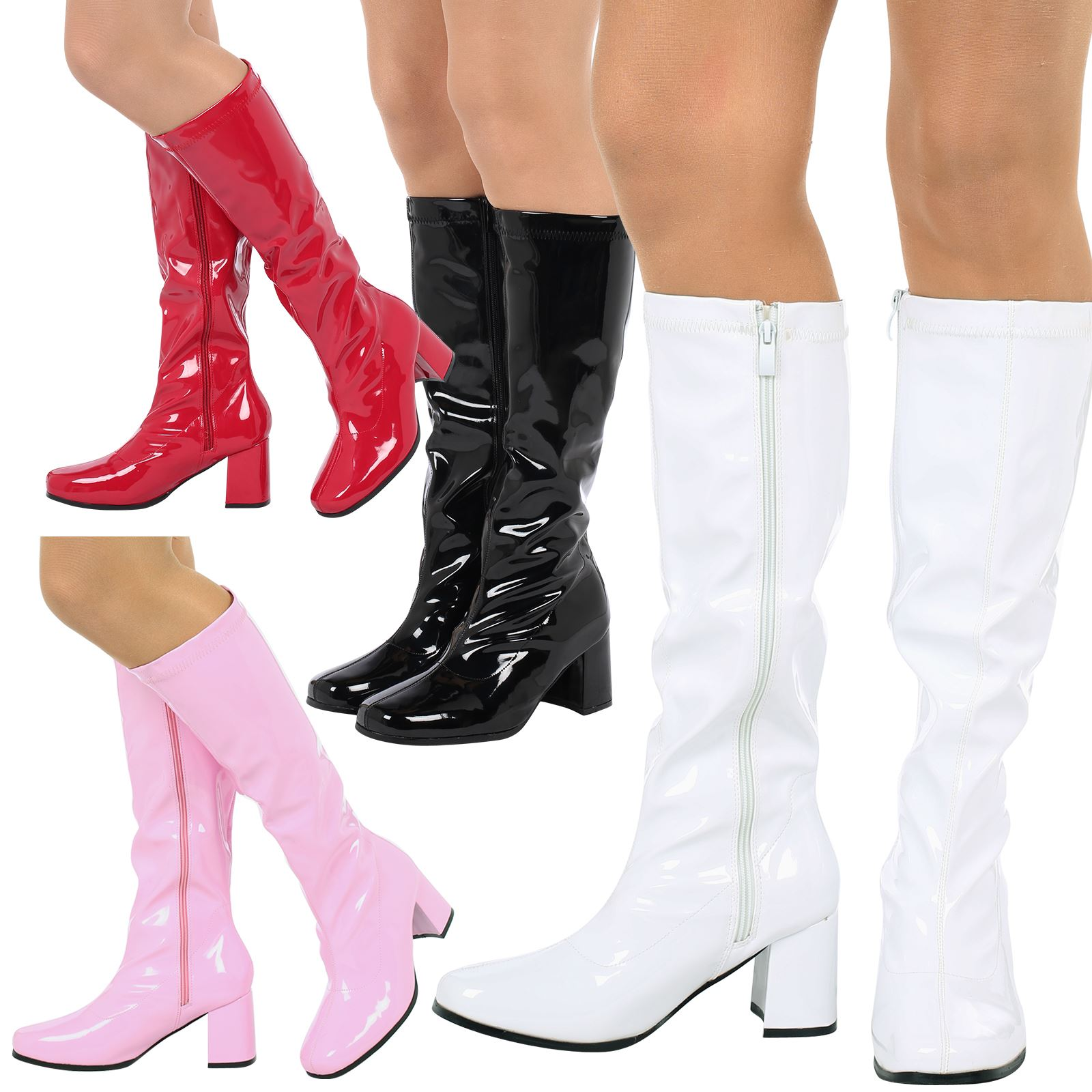 2985d43ec7b WOMENS BOOTS LADIES KNEE HIGH CALF FANCY DRESS GOGO 60s 70s PARTY RETRO  SIZE NEW